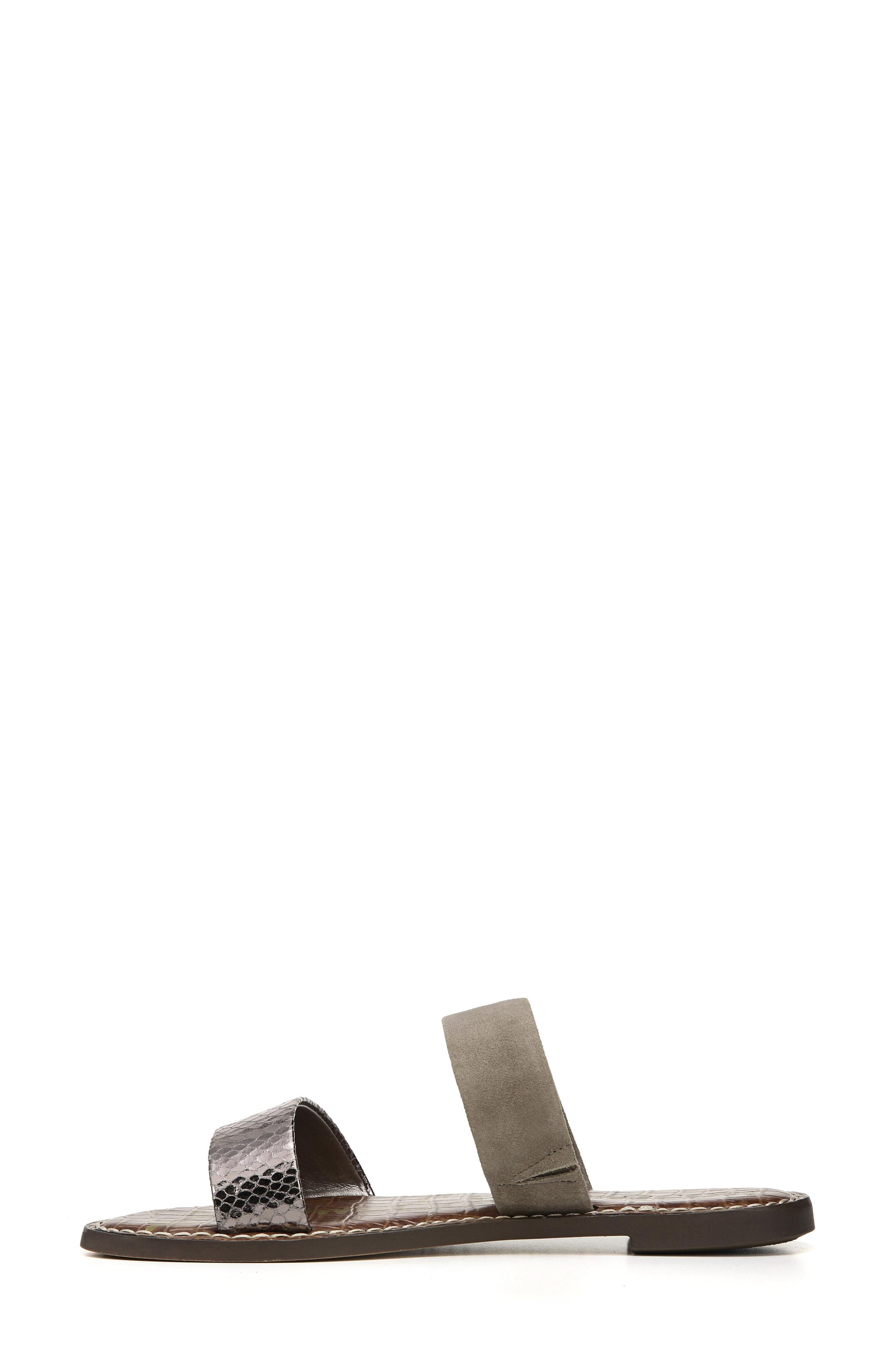 Gala Two Strap Slide Sandal,                             Alternate thumbnail 3, color,                             PEWTER/ PUTTY