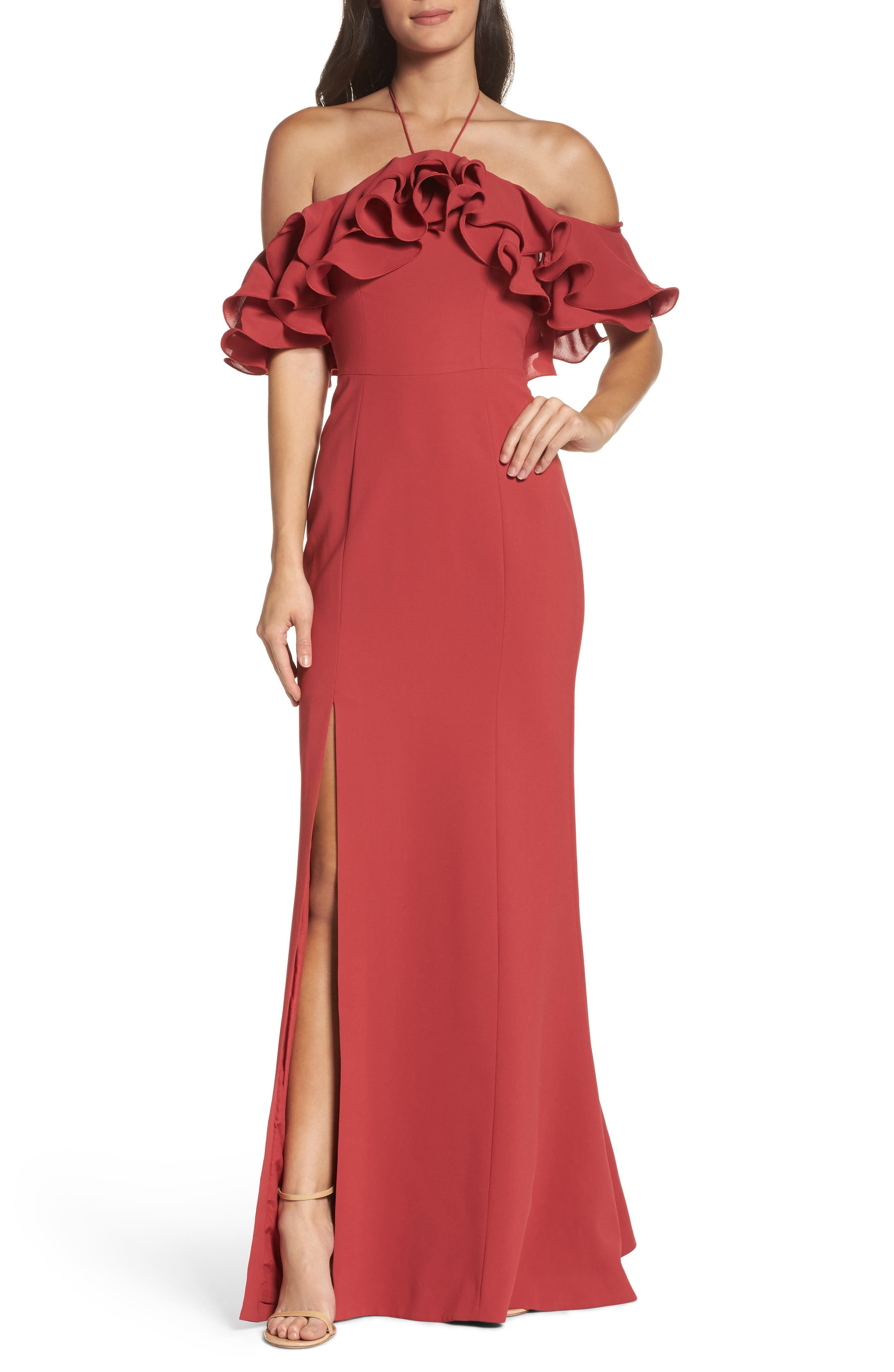 Immerse Ruffle Halter Gown,                             Main thumbnail 2, color,