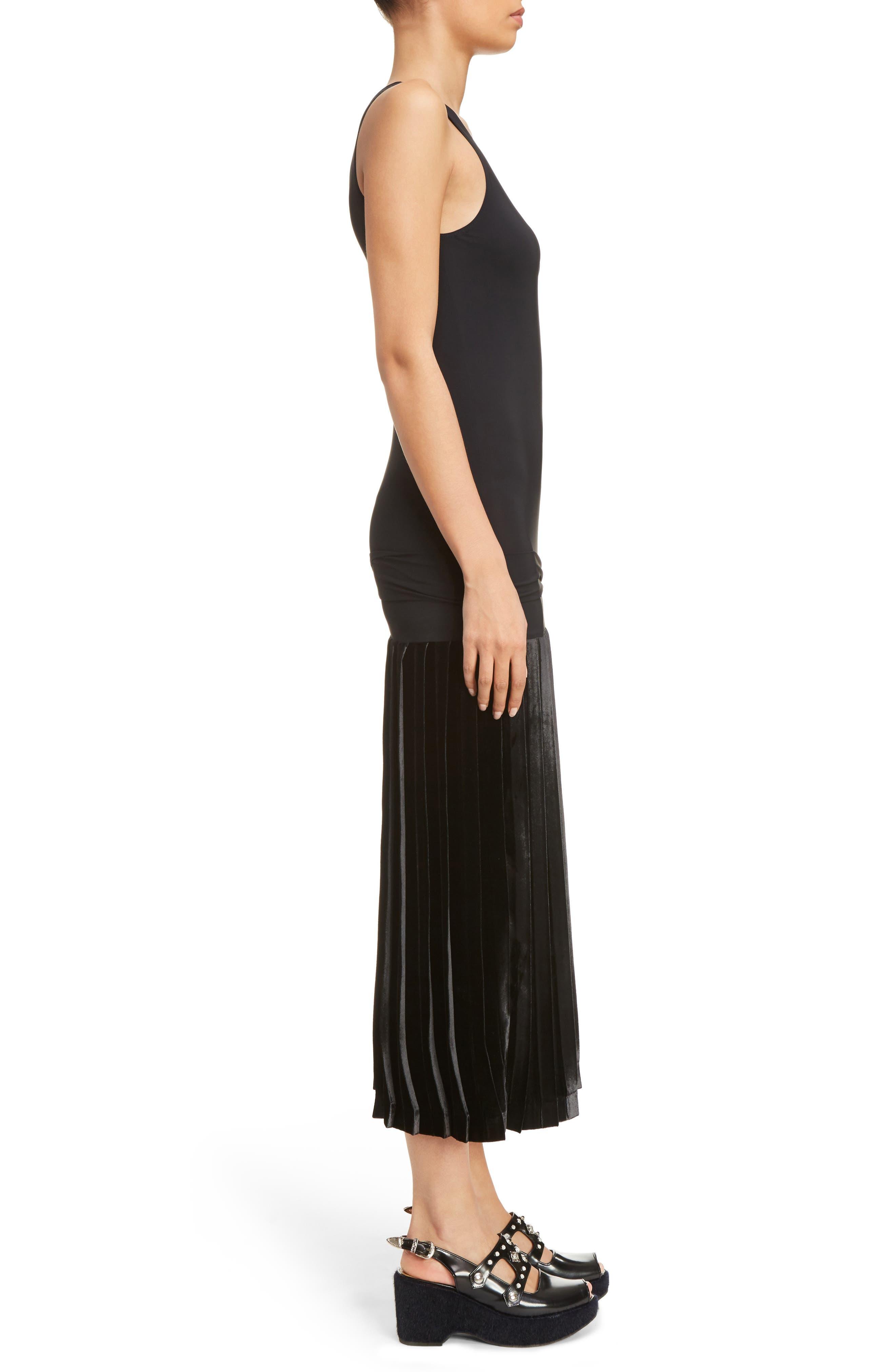 Velvet Skirt Tank Dress,                             Alternate thumbnail 3, color,                             001