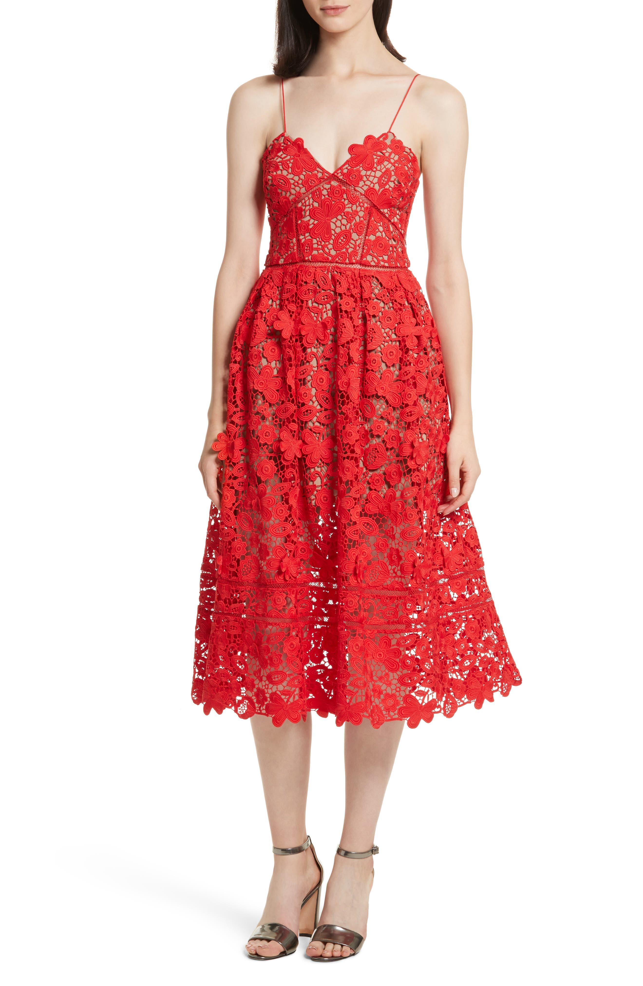 Azaelea 3D Lace Fit & Flare Dress,                             Main thumbnail 3, color,
