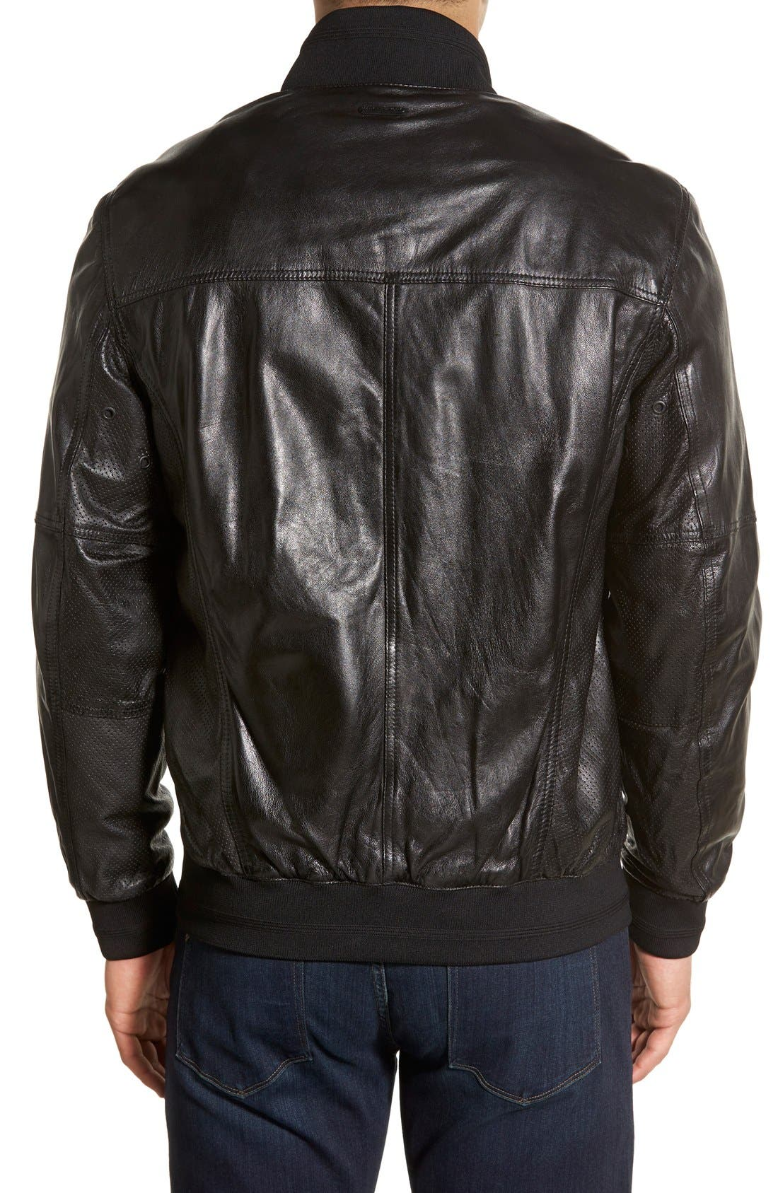 MARC NEW YORK,                             'Newport' Leather Bomber Jacket,                             Alternate thumbnail 2, color,                             001