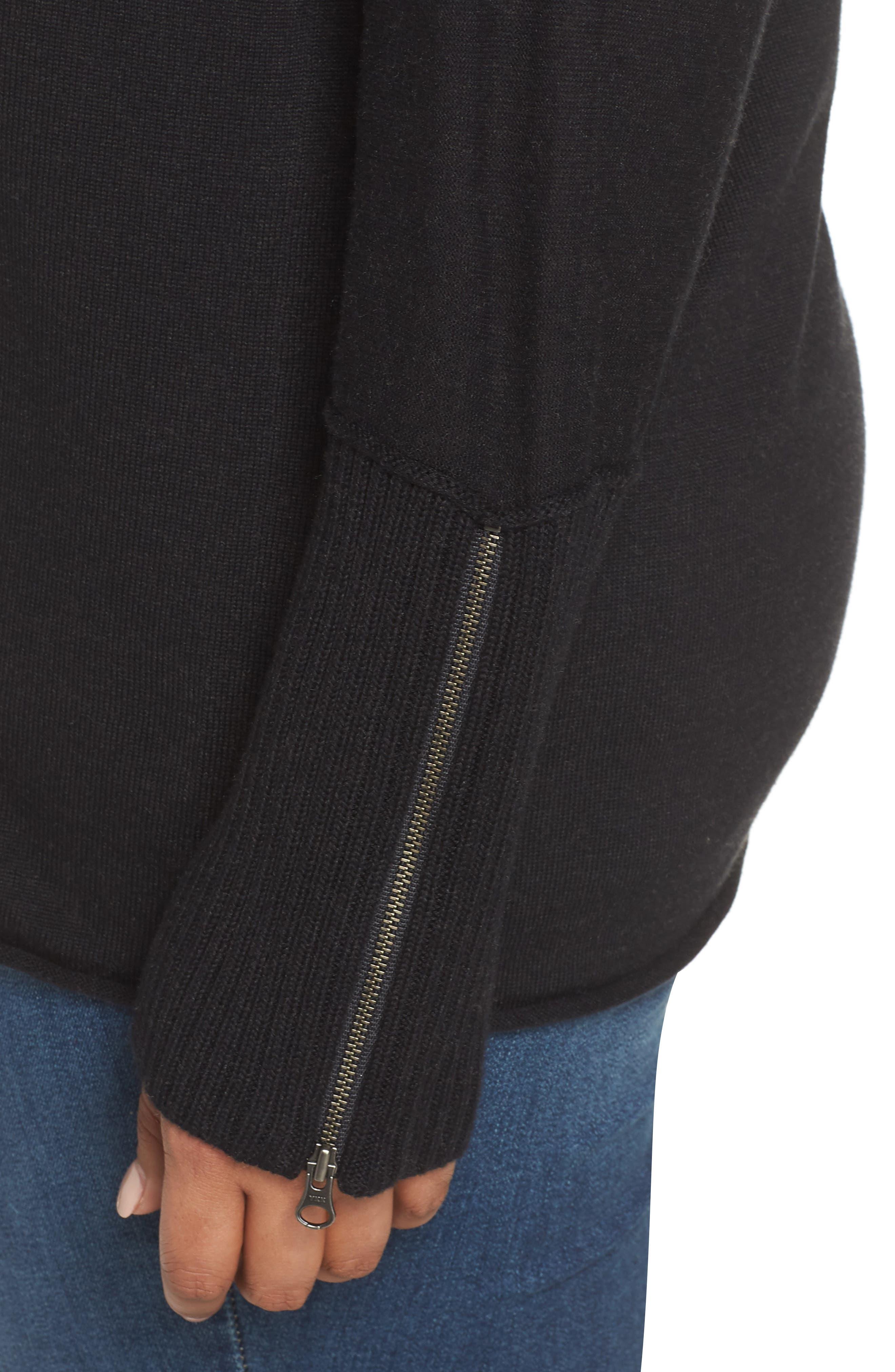 Mix Gauge Zip Cuff Sweater,                             Alternate thumbnail 4, color,                             001