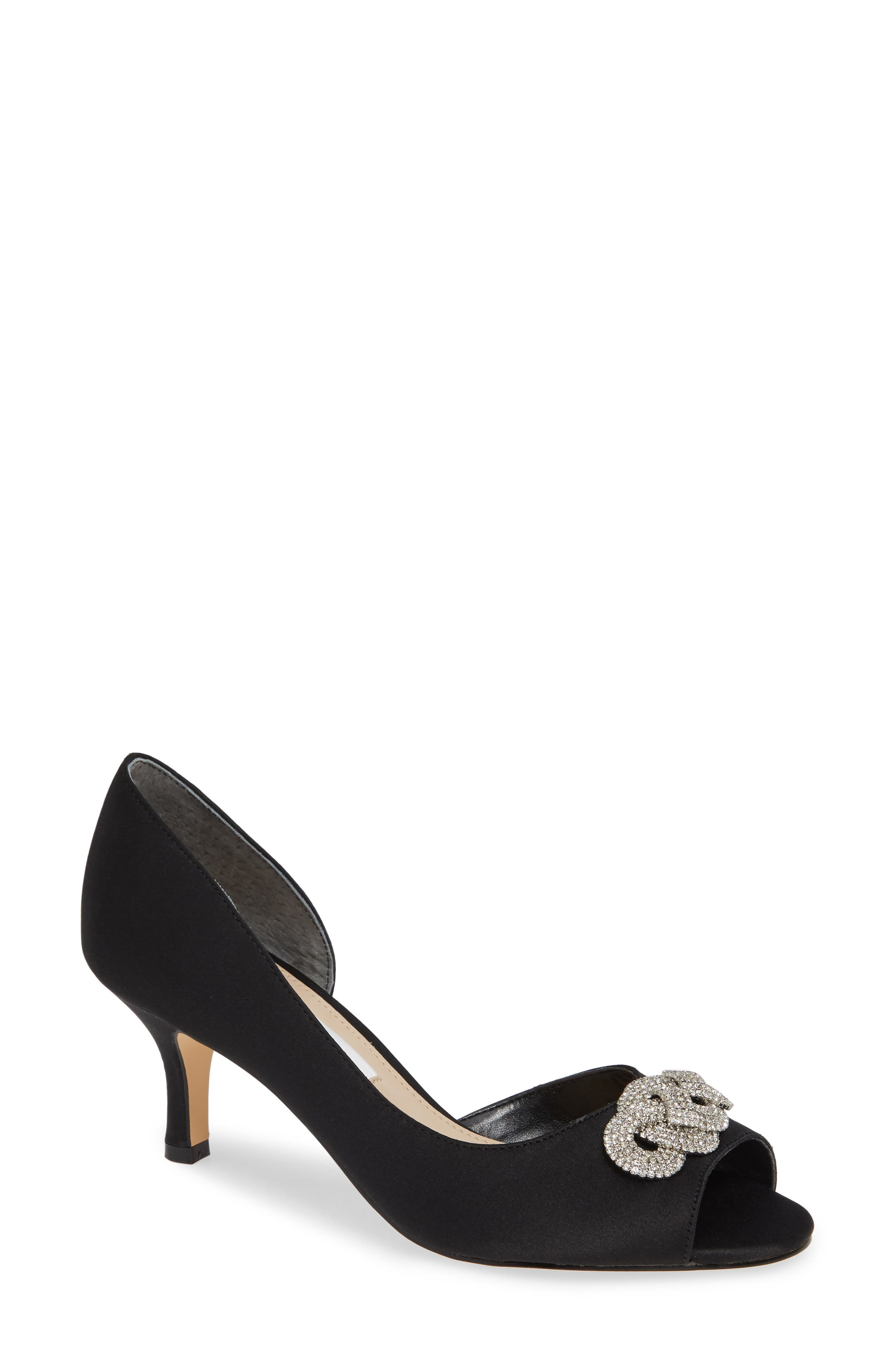 Madolyn Embellished Open Toe Pump,                             Main thumbnail 1, color,                             BLACK SATIN