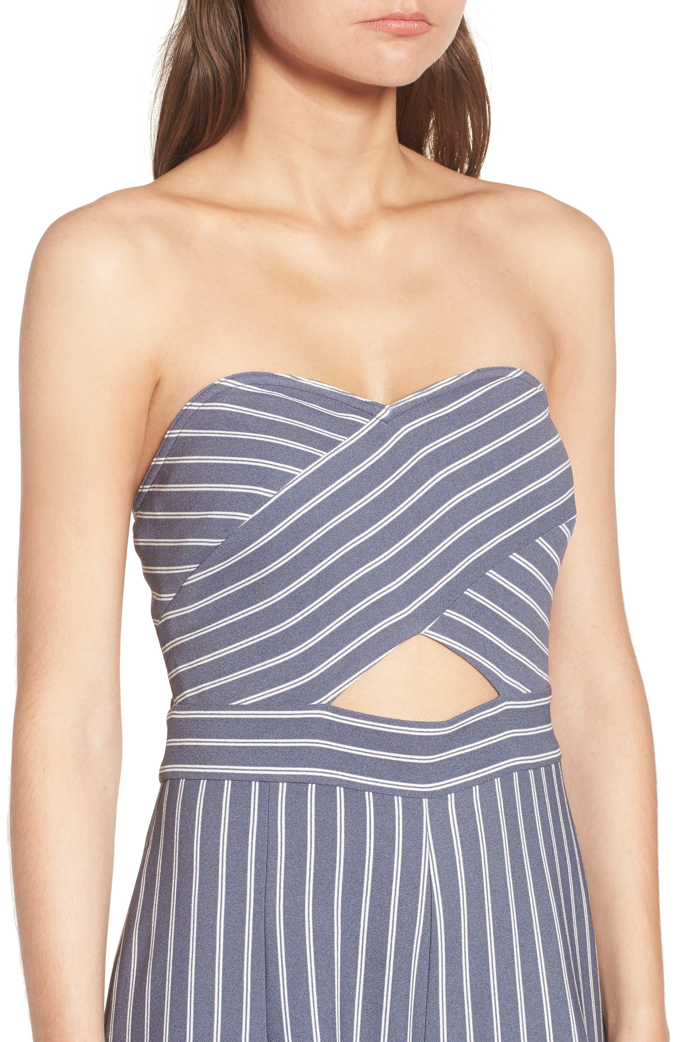 Stripe Convertible Halter Jumpsuit,                             Alternate thumbnail 4, color,