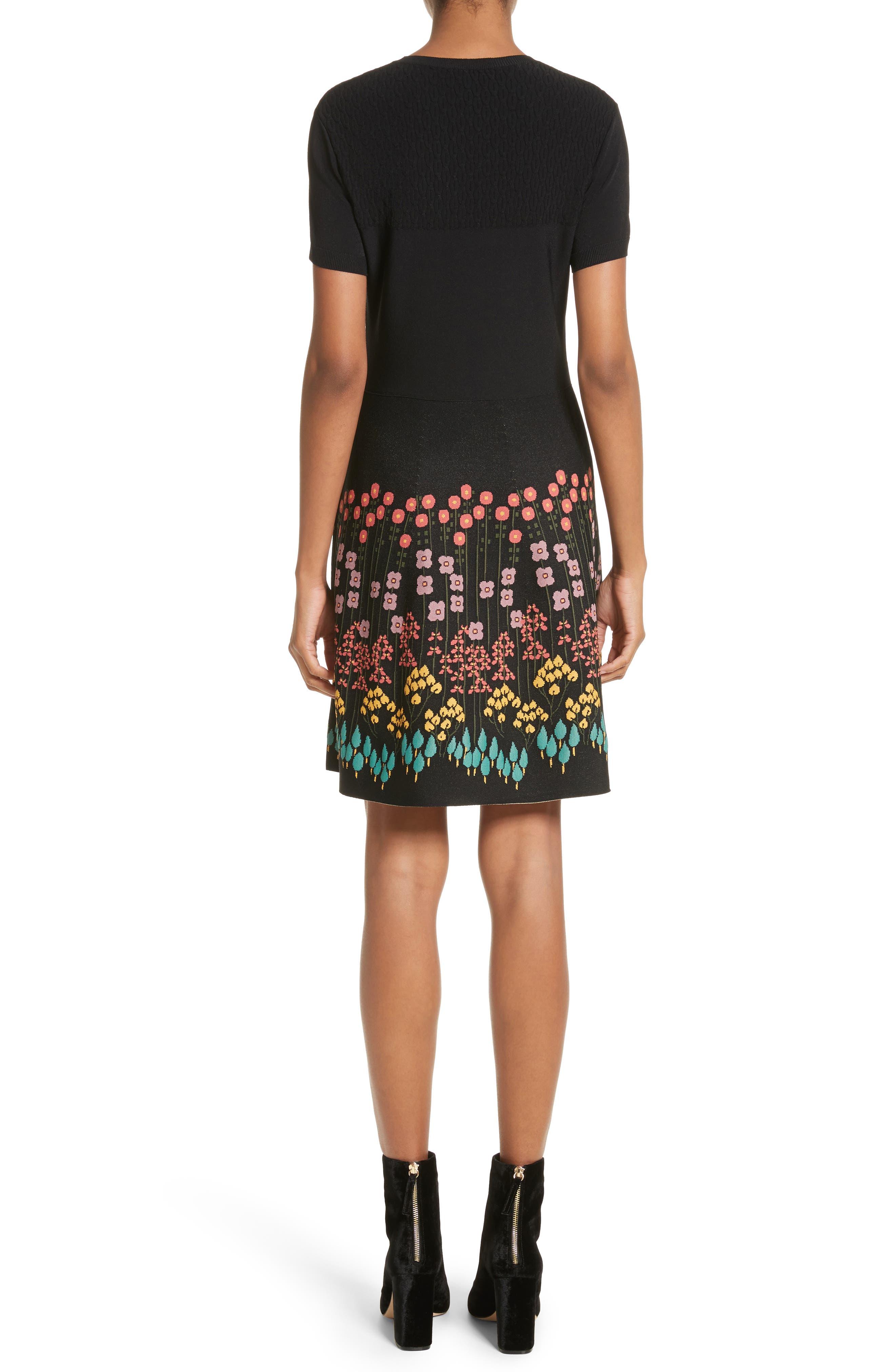 Floral Jacquard Knit Dress,                             Alternate thumbnail 2, color,                             001