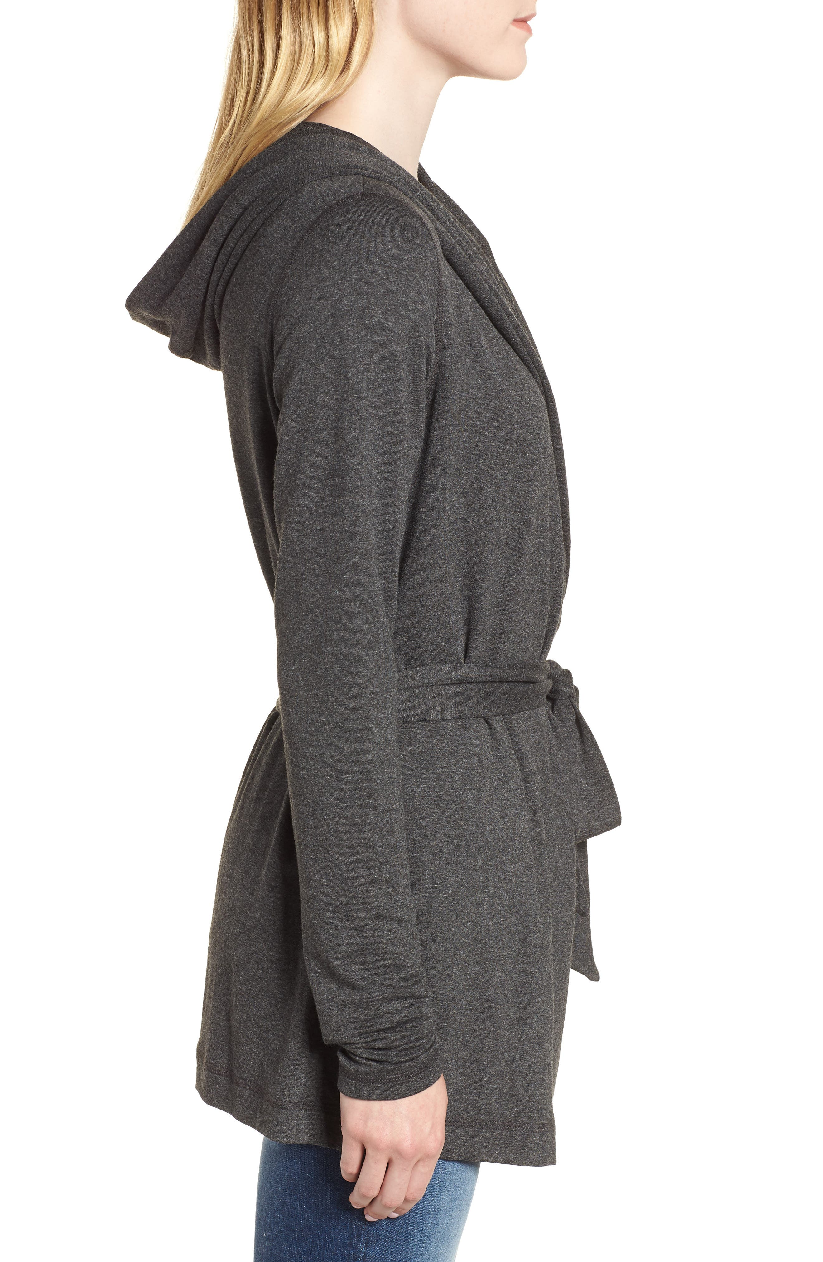 Draped Hooded Cardigan,                             Alternate thumbnail 3, color,                             CHARCOAL
