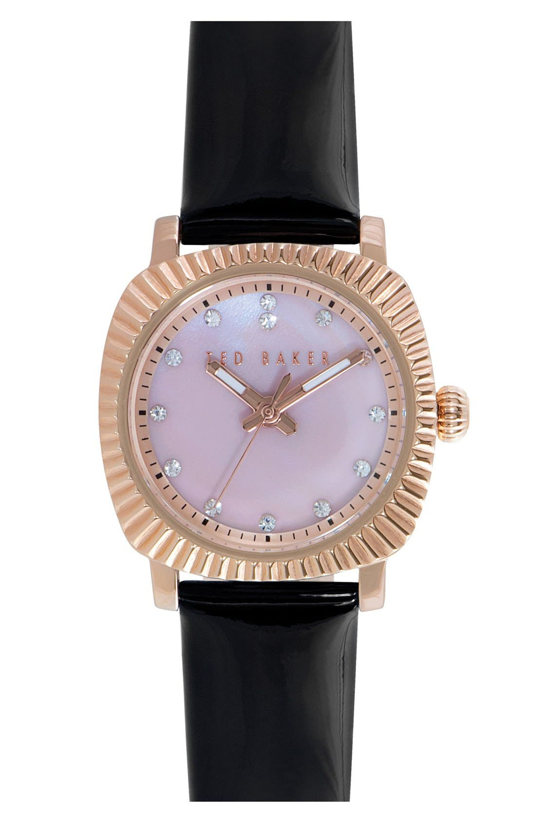 'Mini Jewels' Crystal Index Patent Leather Strap Watch, 26mm,                         Main,                         color, 001