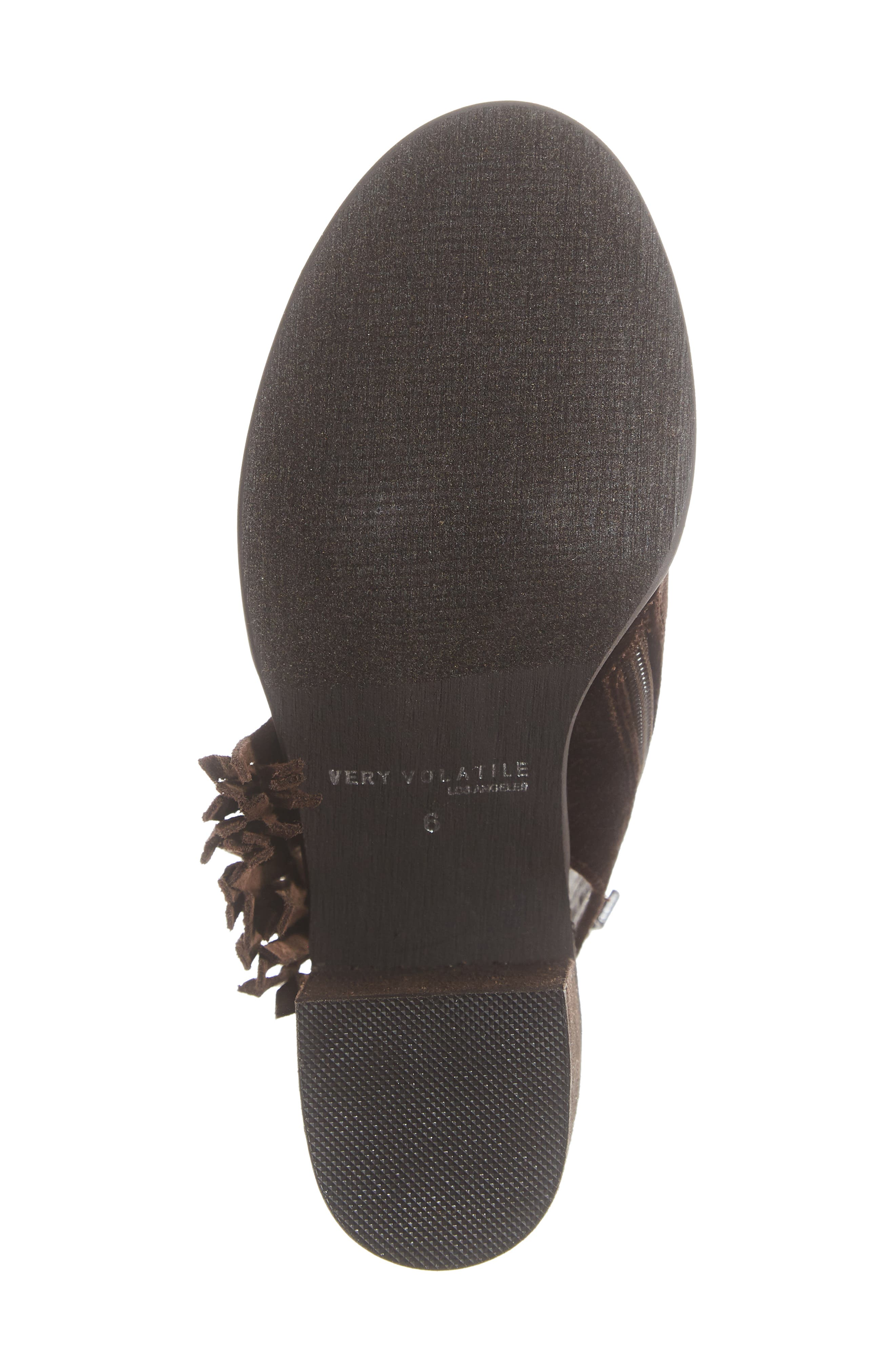 VERY VOLATILE,                             Pony Express Fringe Bootie Sandal,                             Alternate thumbnail 6, color,                             BROWN