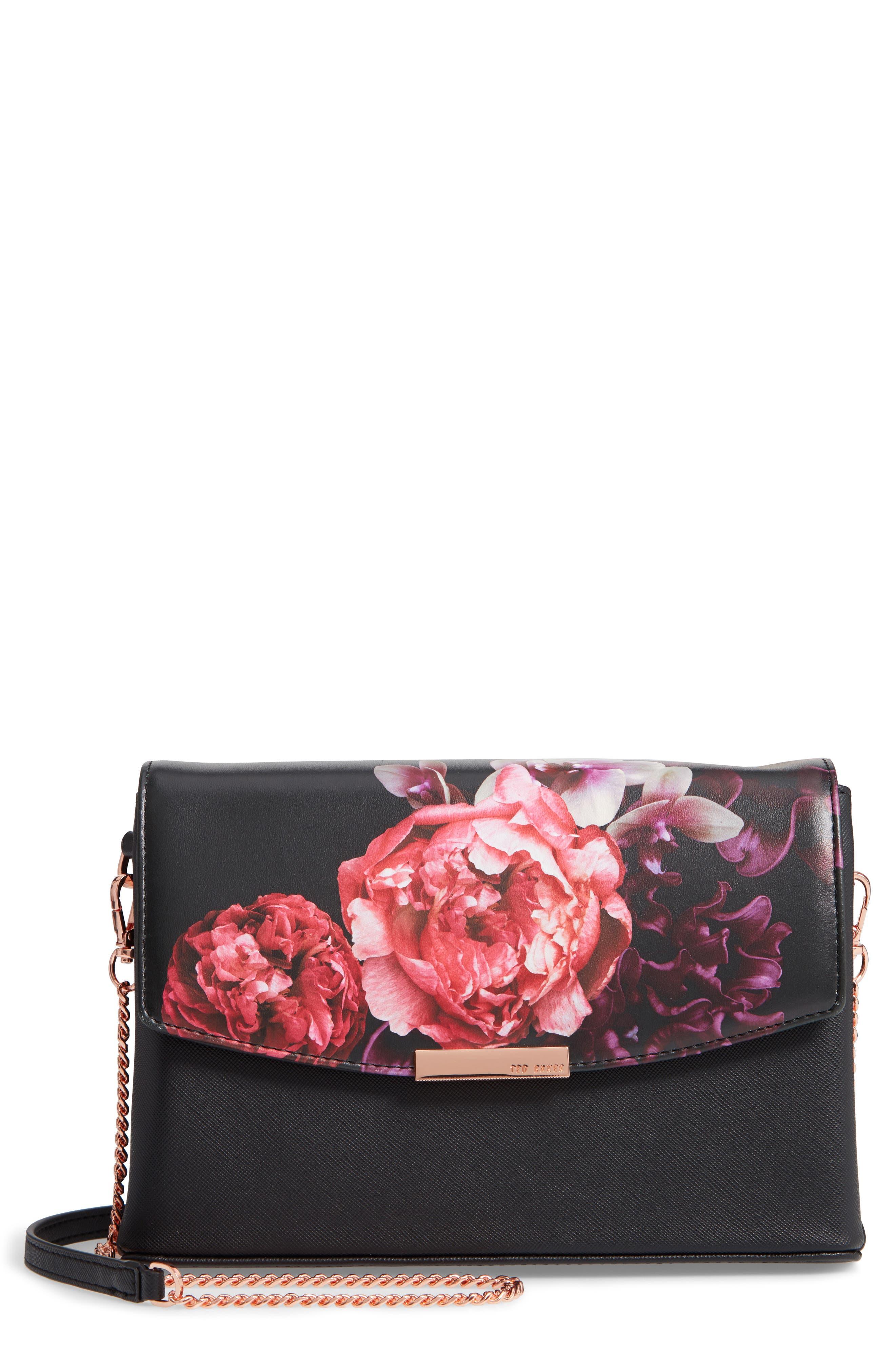 Viickky Splendour Print Faux Leather Crossbody Bag,                             Main thumbnail 1, color,                             BLACK
