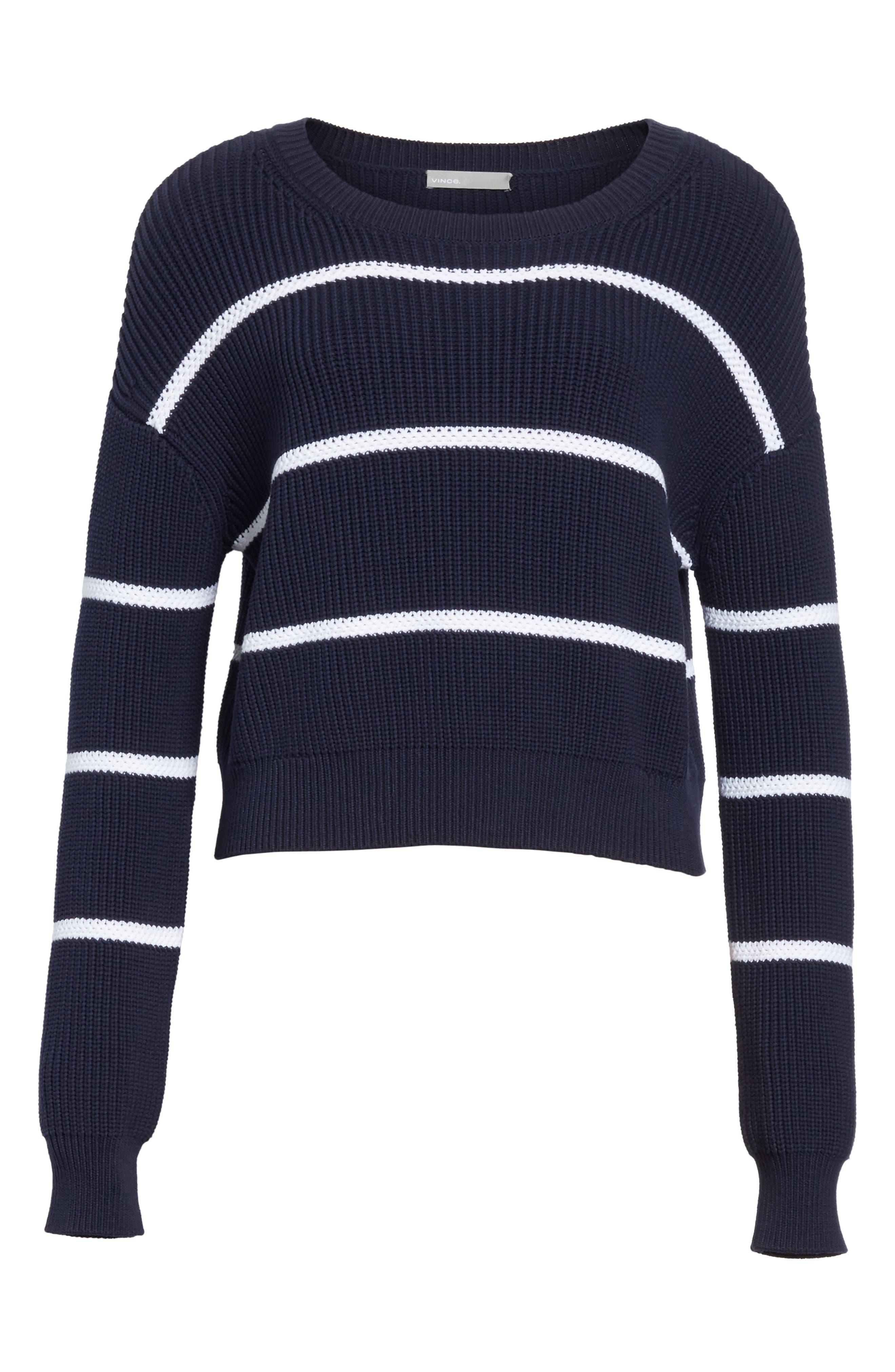 Cotton Blend Rib Knit Stripe Sweater,                             Alternate thumbnail 12, color,