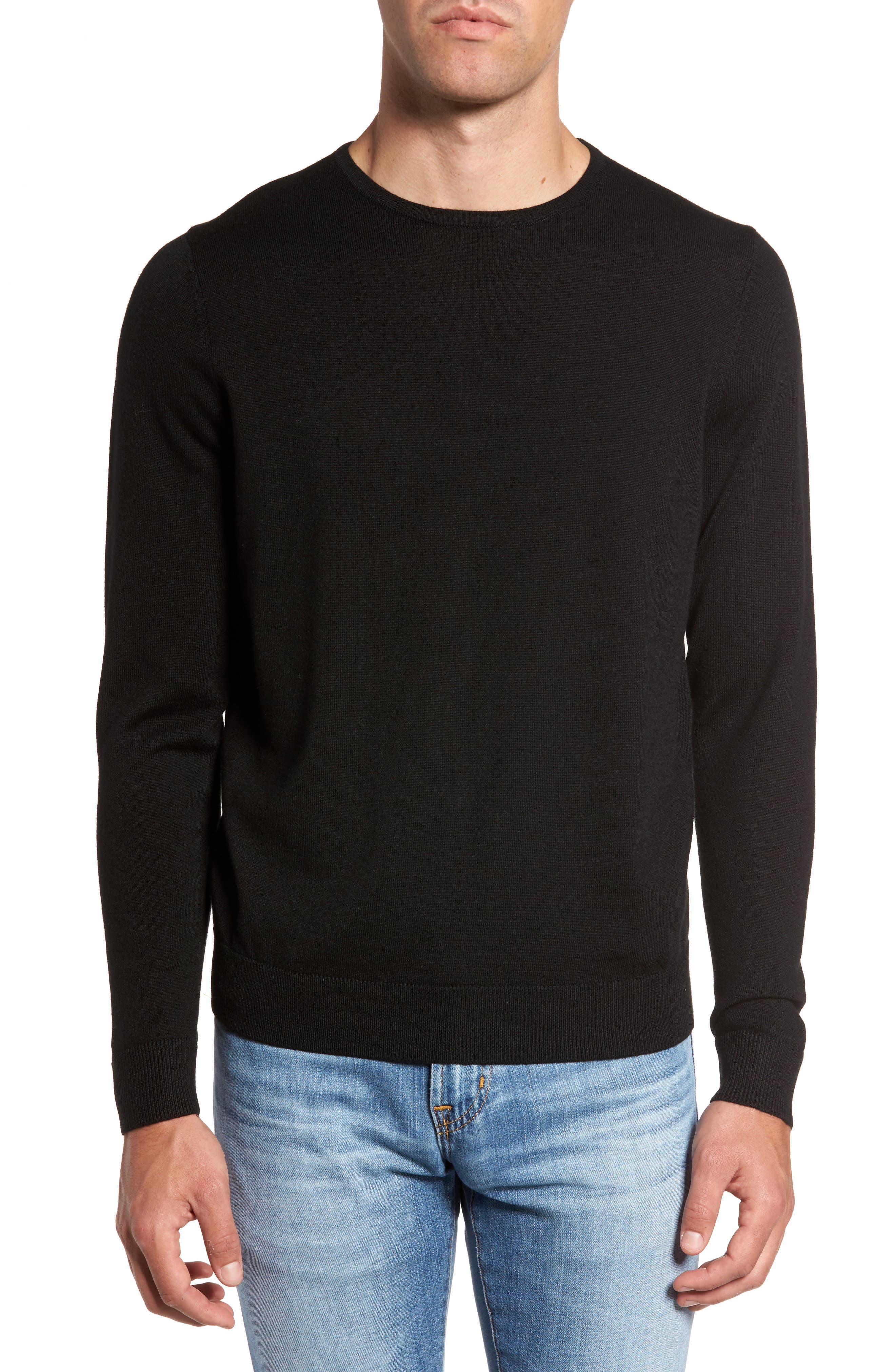 Crewneck Merino Wool Sweater,                         Main,                         color, BLACK CAVIAR