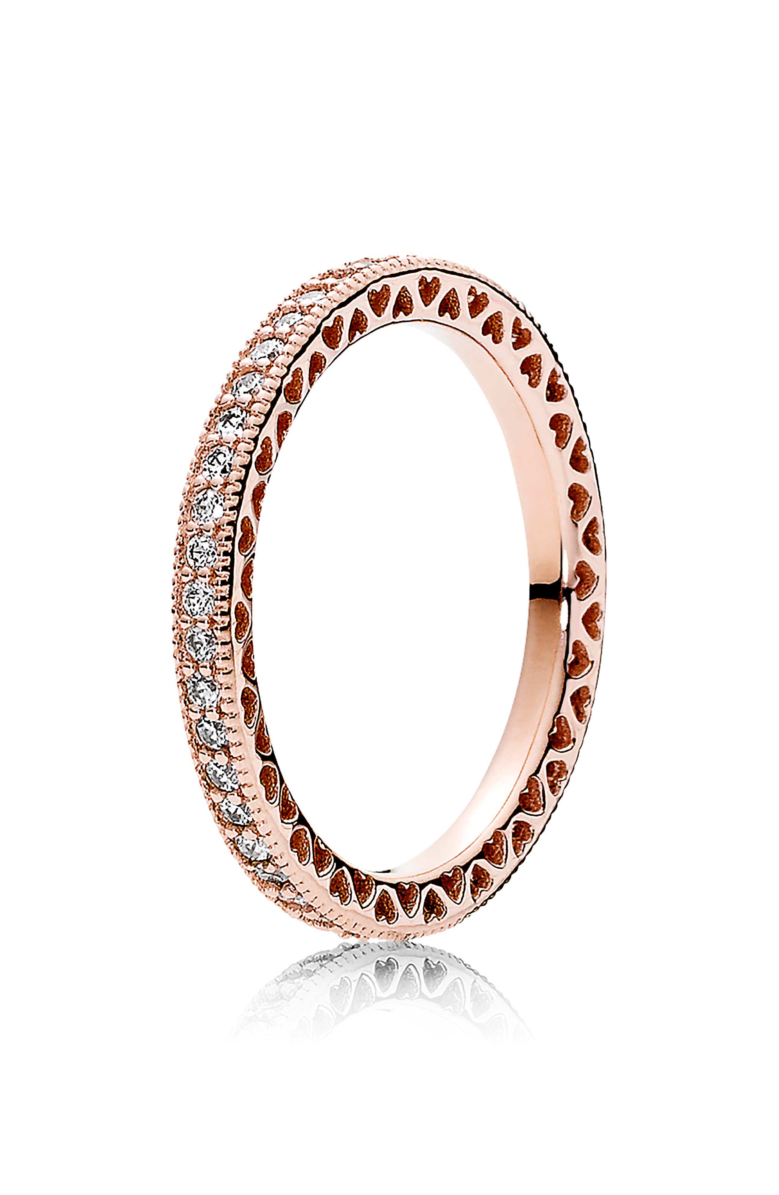 Hearts of Pandora Eternity Stacking Ring, Main, color, ROSE GOLD
