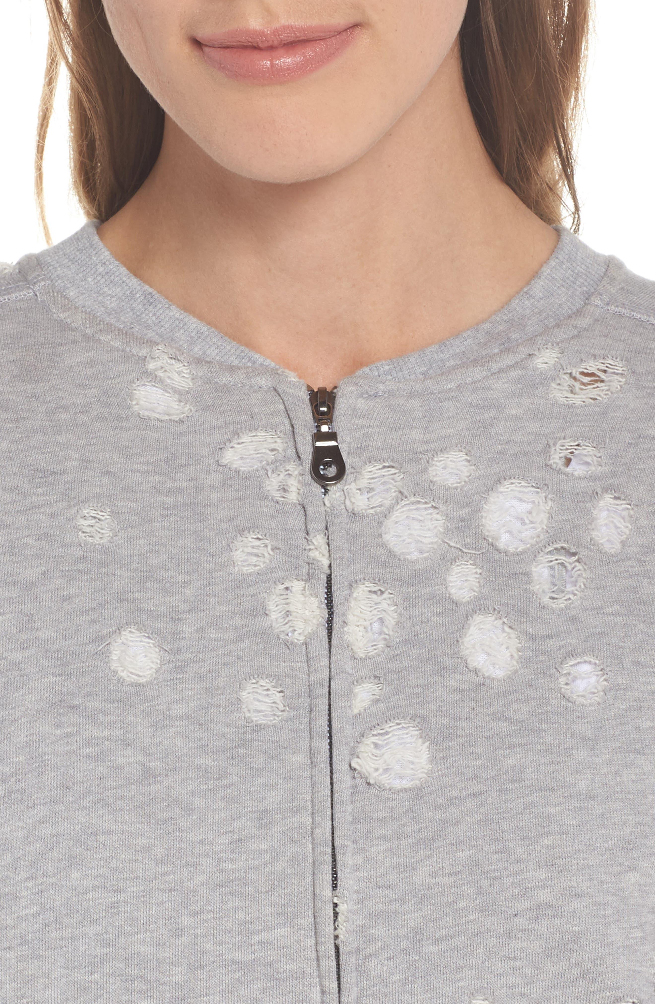 Distressed Zip Sweatshirt,                             Alternate thumbnail 4, color,                             HEATHER GREY