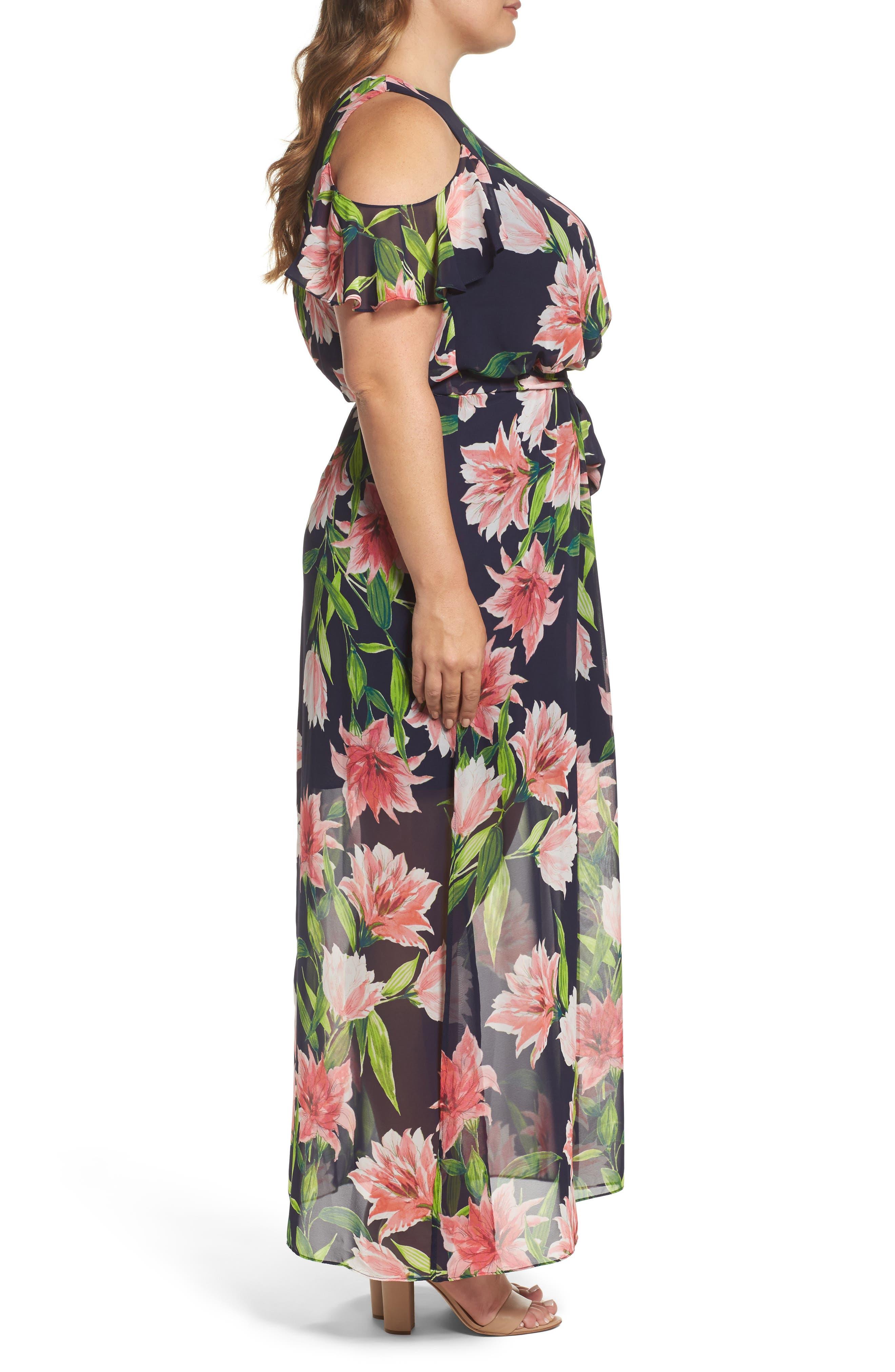 Floral Chiffon Cold Shoulder Maxi Dress,                             Alternate thumbnail 3, color,                             410