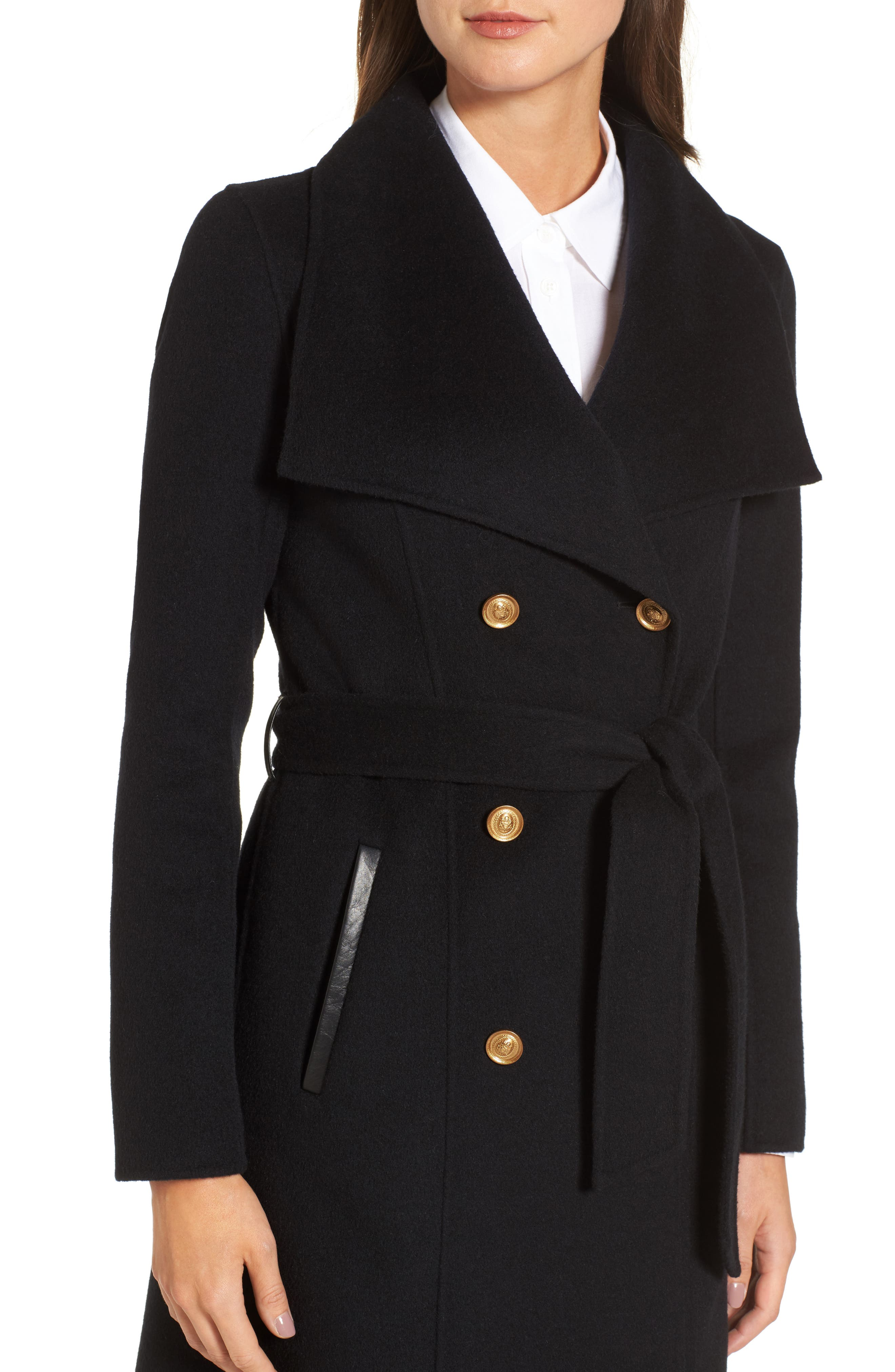Norah-N Double Breasted Wool Blend Long Military Coat,                             Alternate thumbnail 4, color,                             001