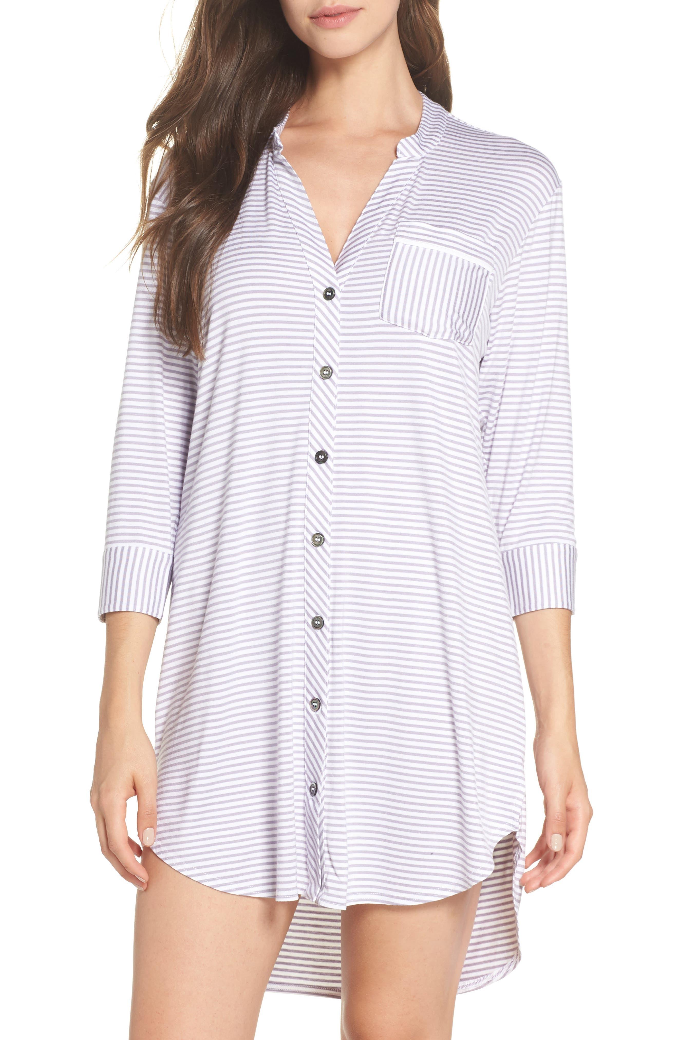 Vivian Sleep Shirt,                         Main,                         color, LAVENDER AURA / WHITE STRIPE