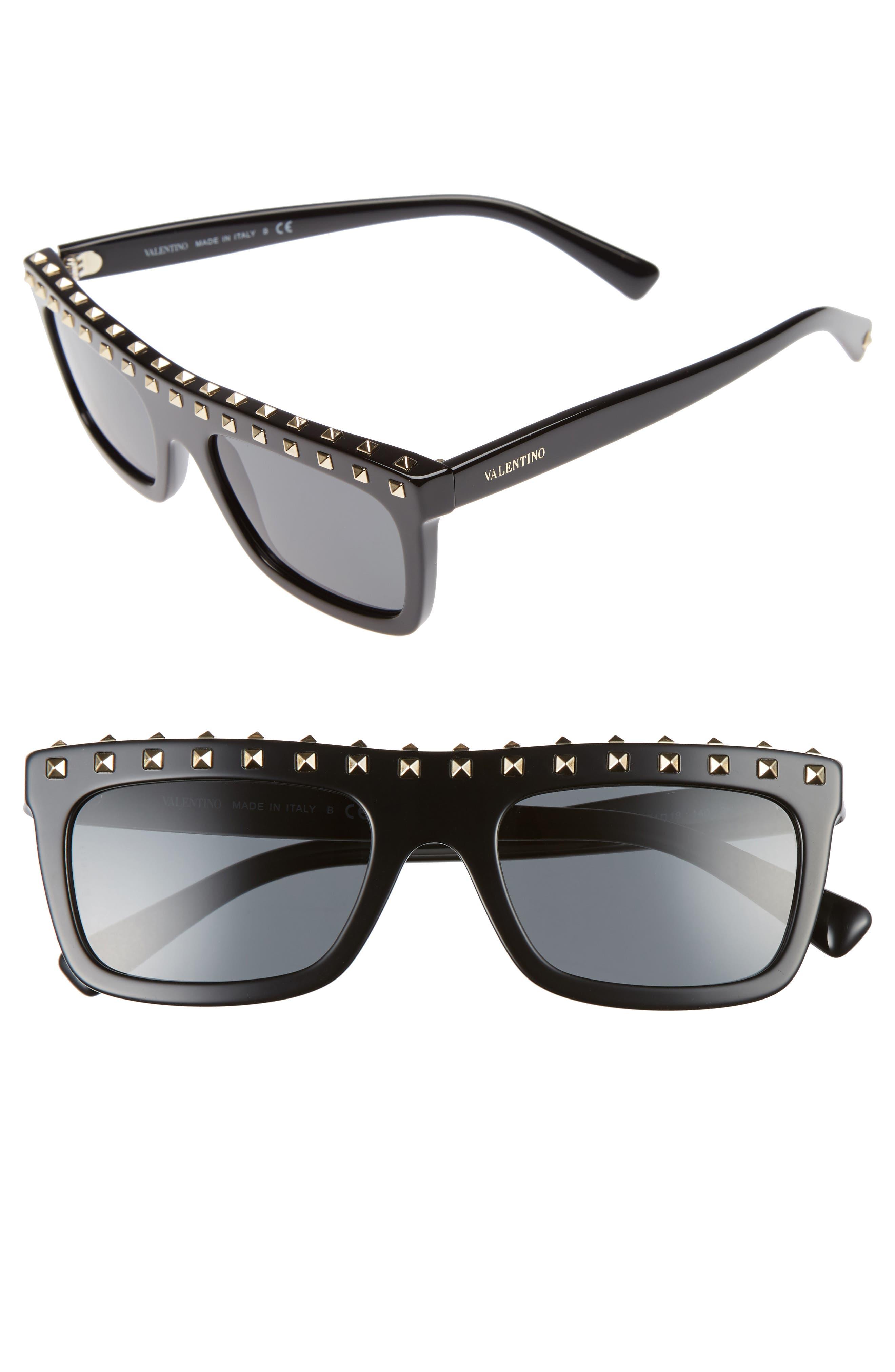 Rockstud 51mm Rectangular Sunglasses,                         Main,                         color, BLACK/ LIGHT GOLD