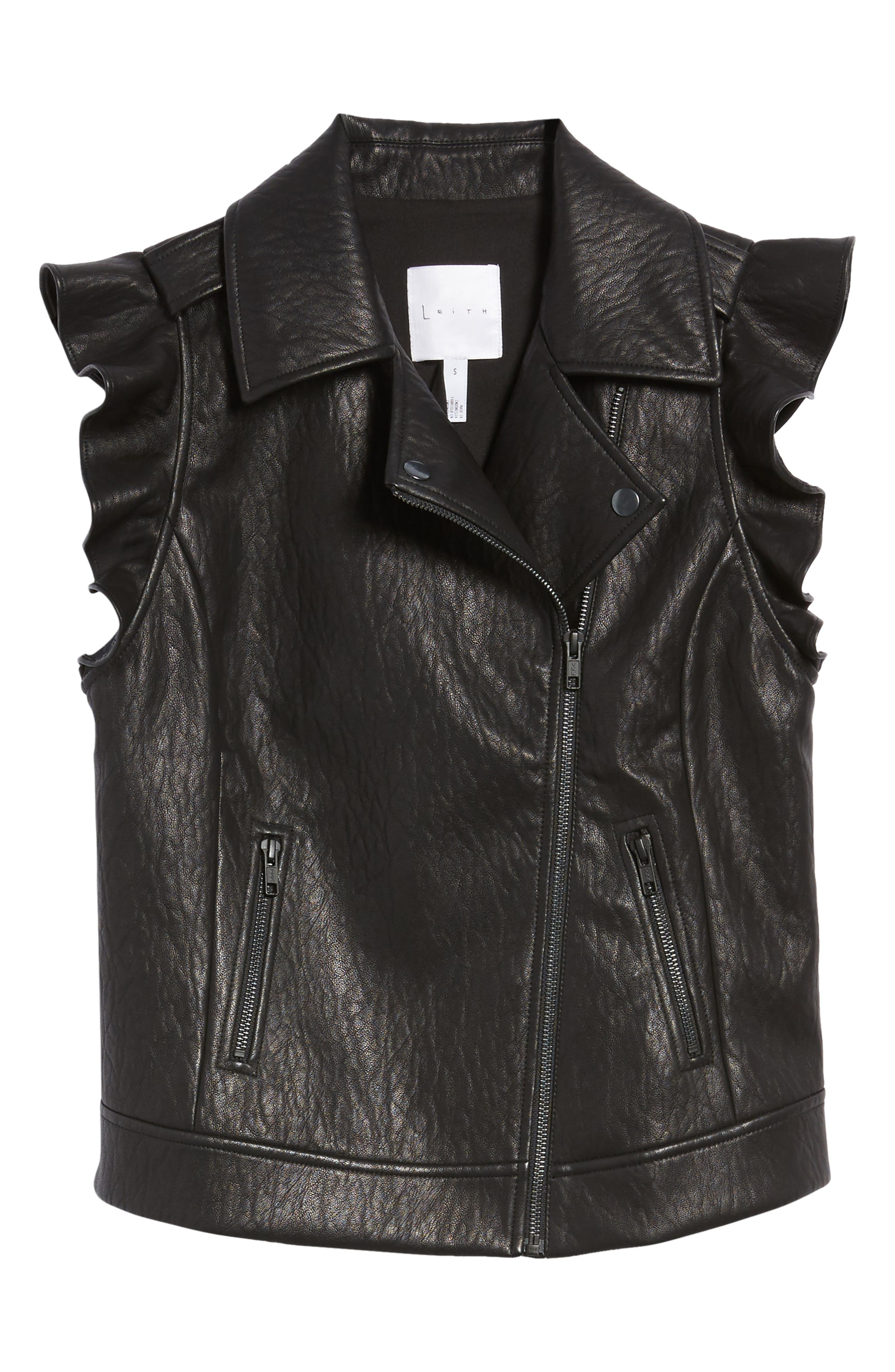 Ruffle Faux Leather Vest,                             Alternate thumbnail 5, color,                             001