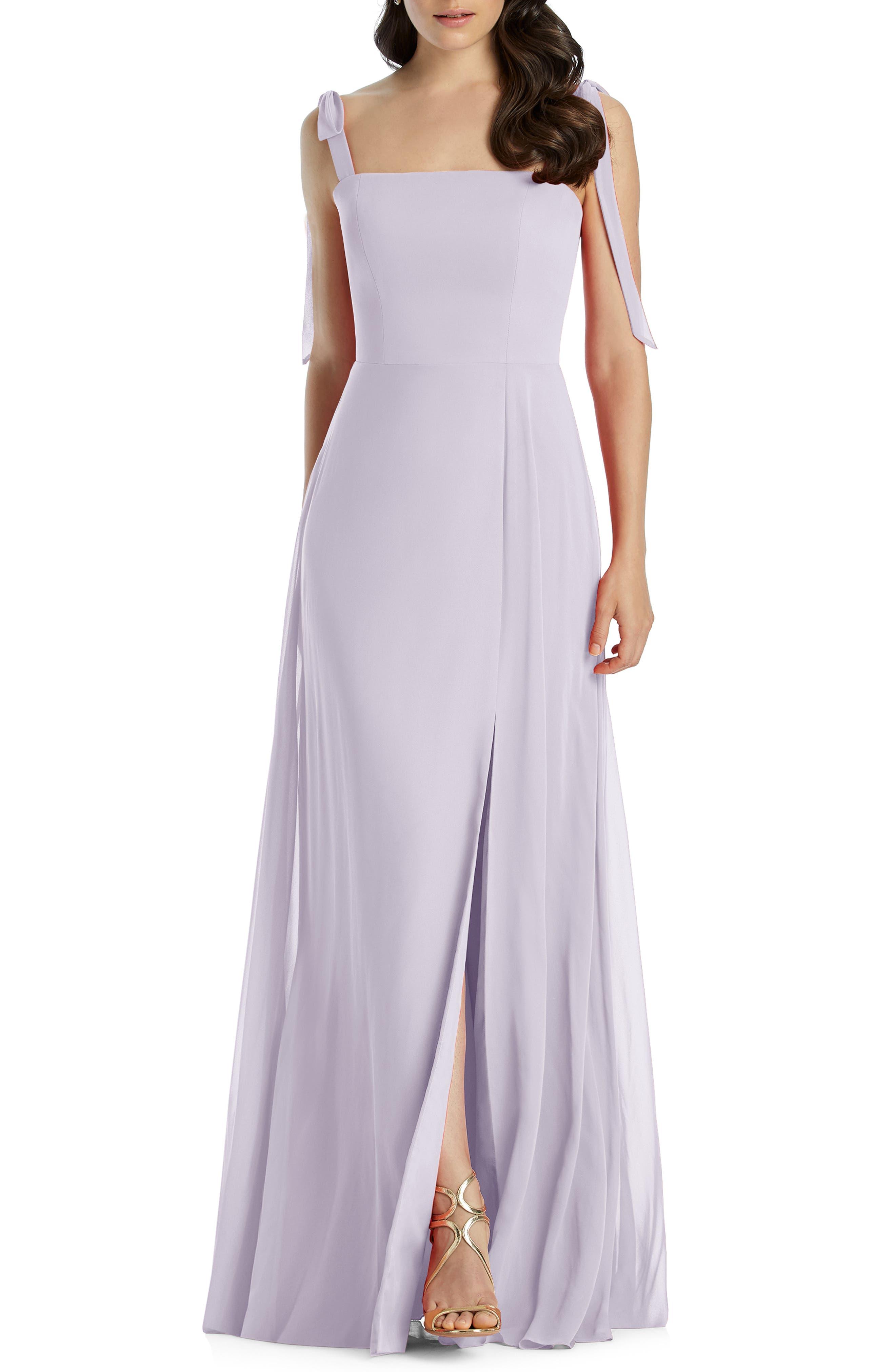 Dessy Collection Shoulder Tie Chiffon Evening Dress, Purple