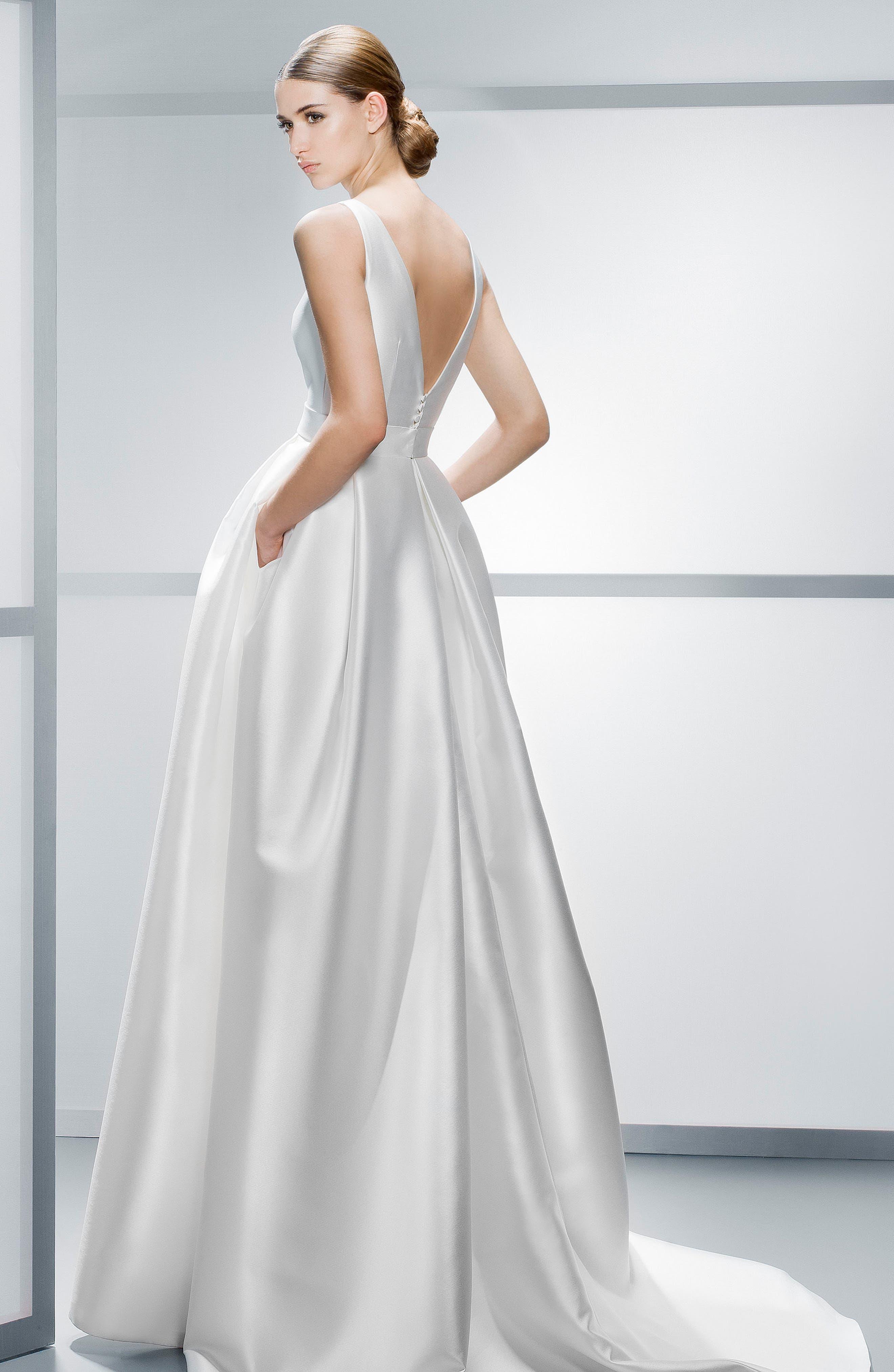 Mikado A-Line Dress,                             Alternate thumbnail 2, color,                             IVORY