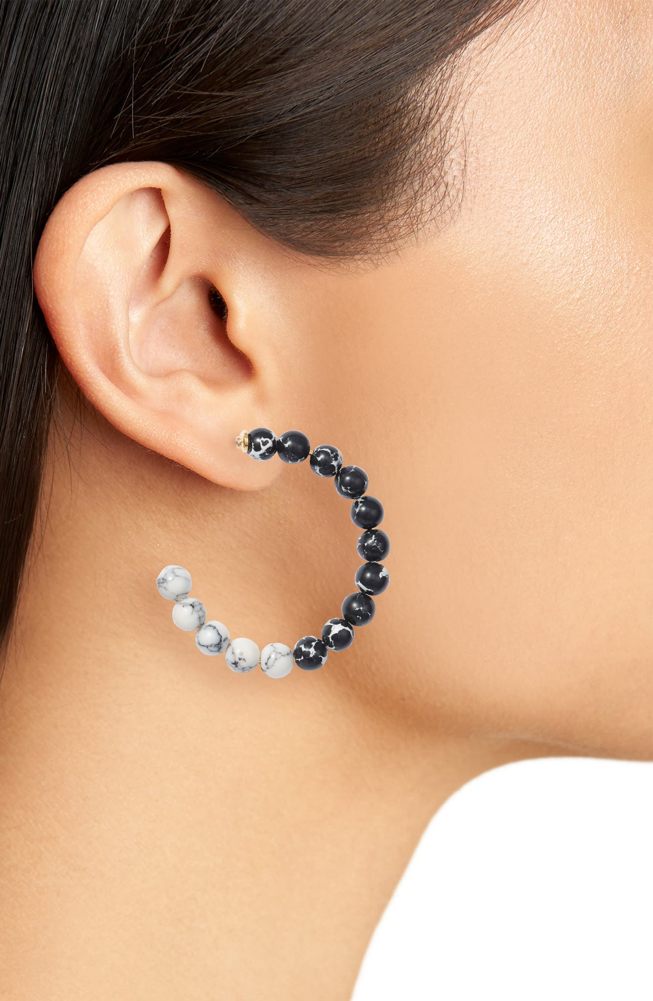 Stone Hoop Earrings,                             Alternate thumbnail 2, color,                             MARBLE