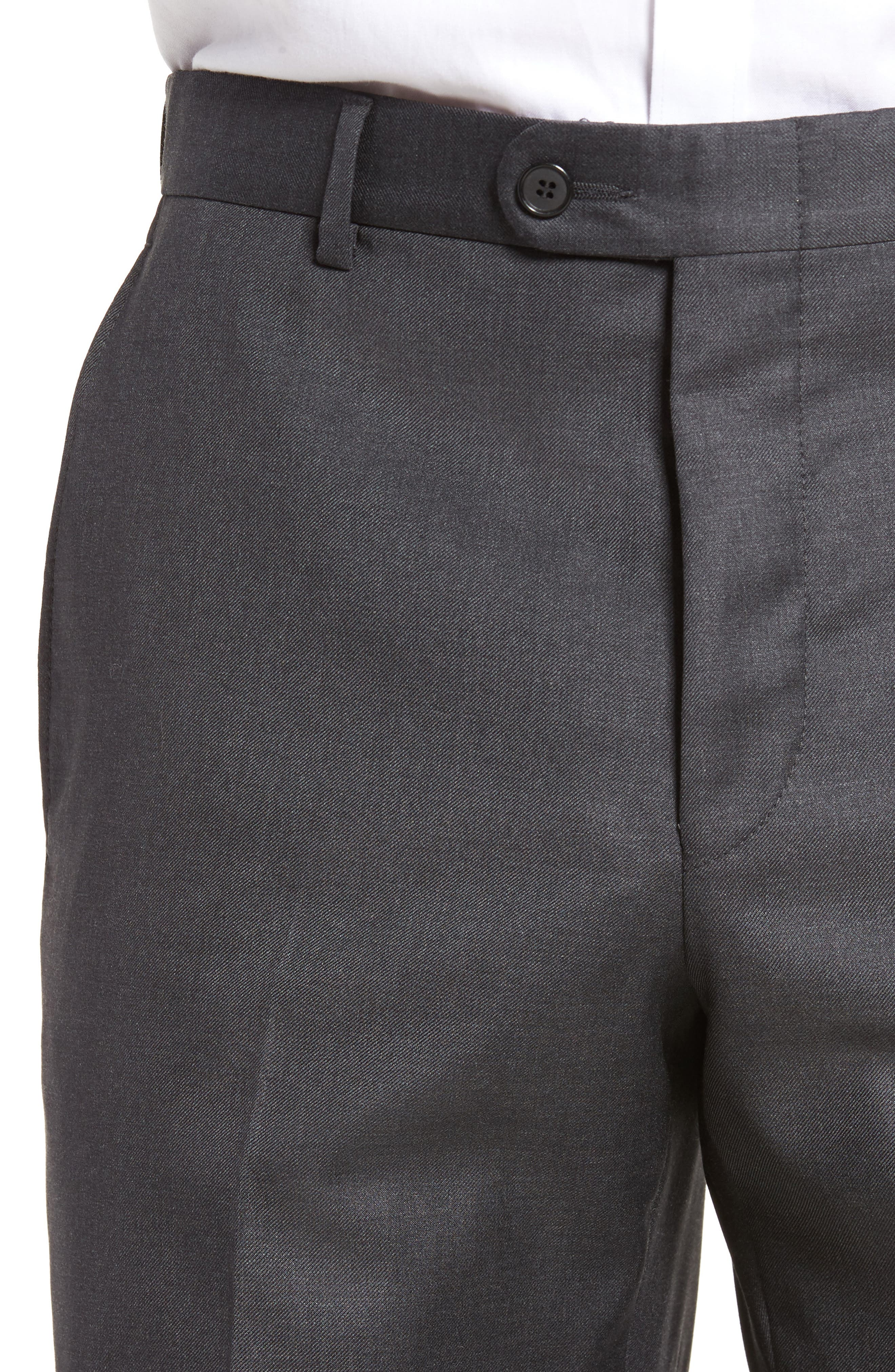 Classic B Fit Flat Front Solid Wool Trousers,                             Alternate thumbnail 5, color,                             CHARCOAL SHARKSKIN