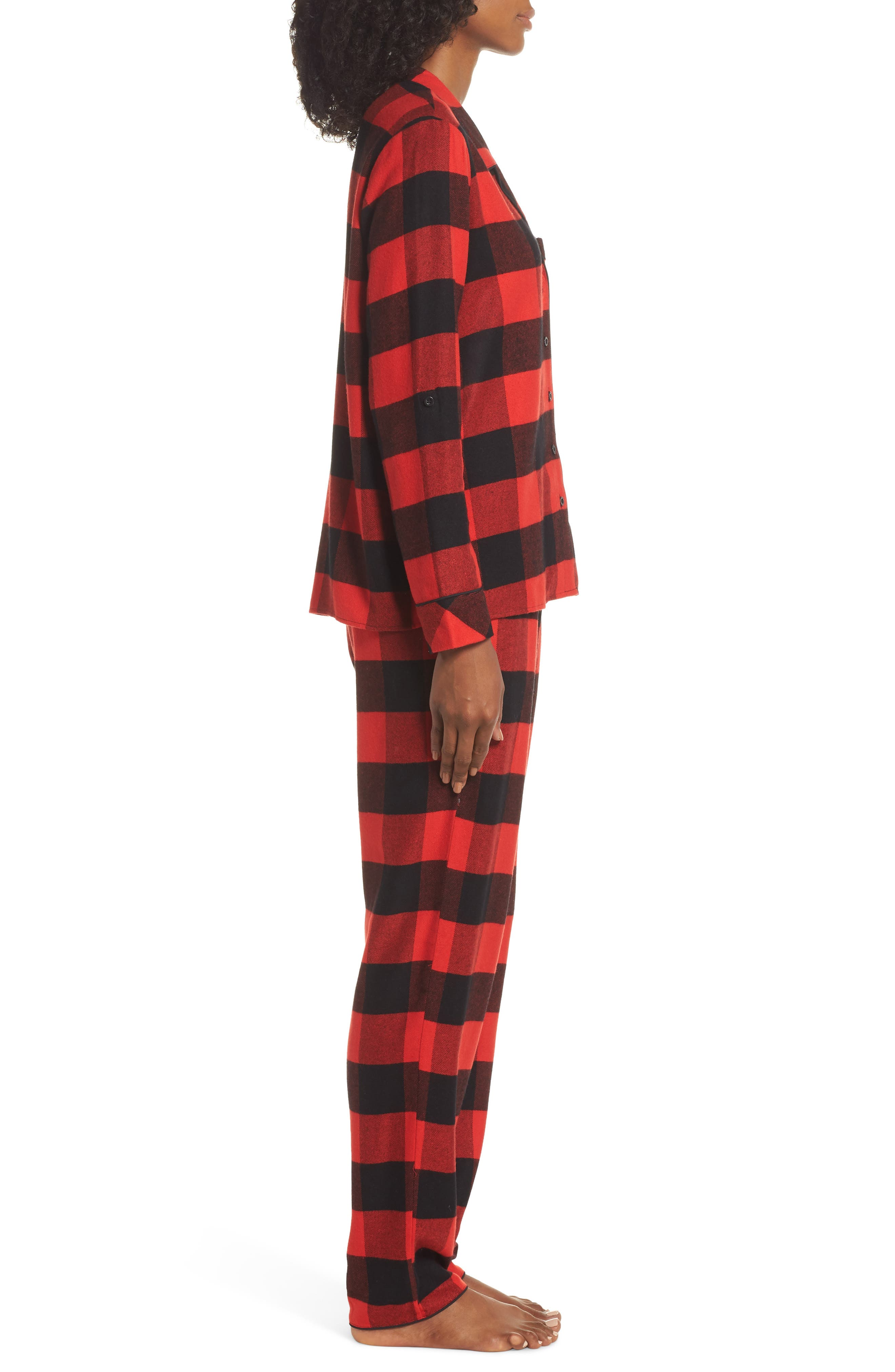 Lingerie Starlight Flannel Pajamas,                             Alternate thumbnail 3, color,                             RED BLOOM LARGE BUFFALO CHECK