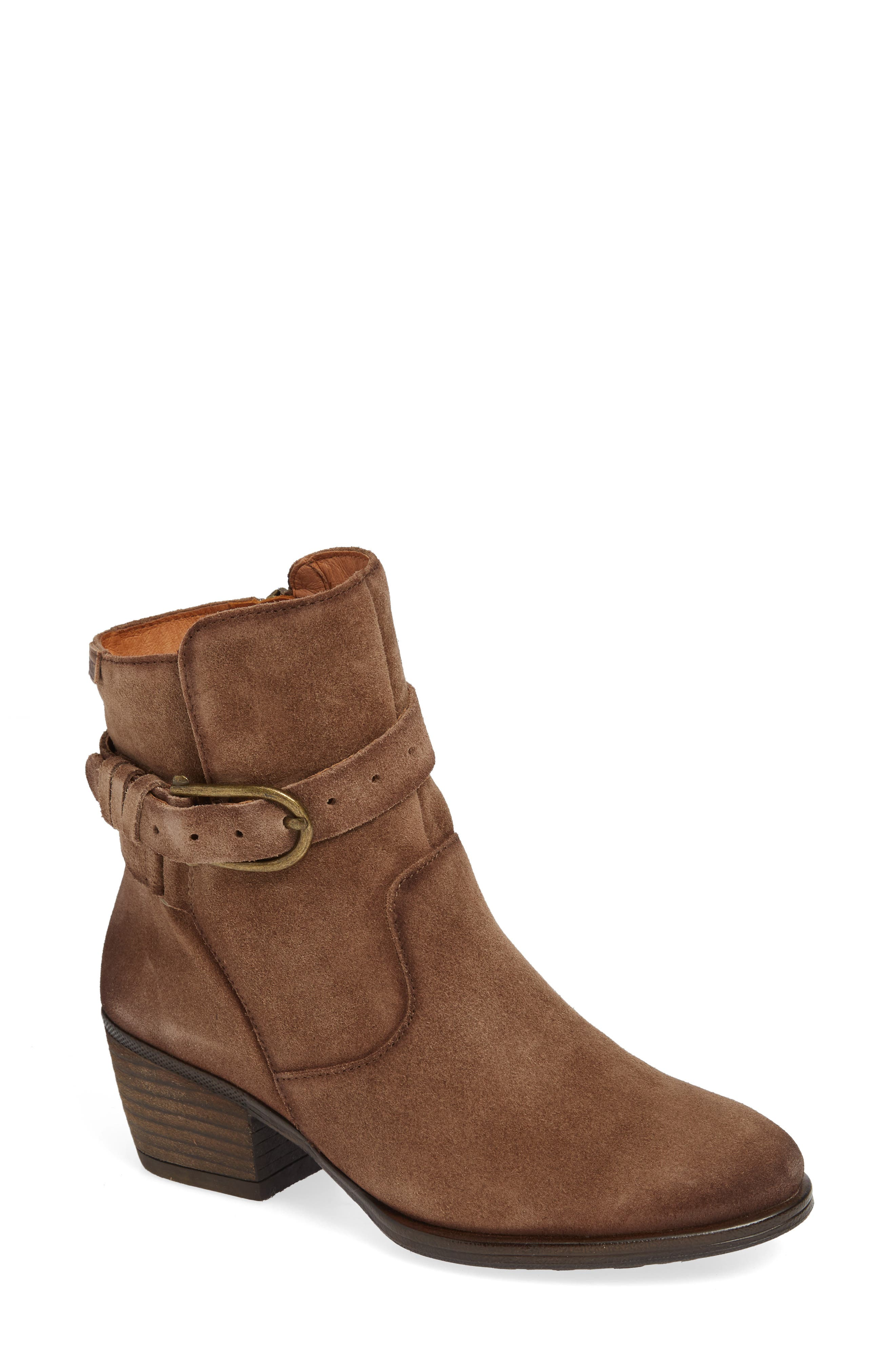 Baqueira Belted Bootie,                         Main,                         color, STONE SUEDE