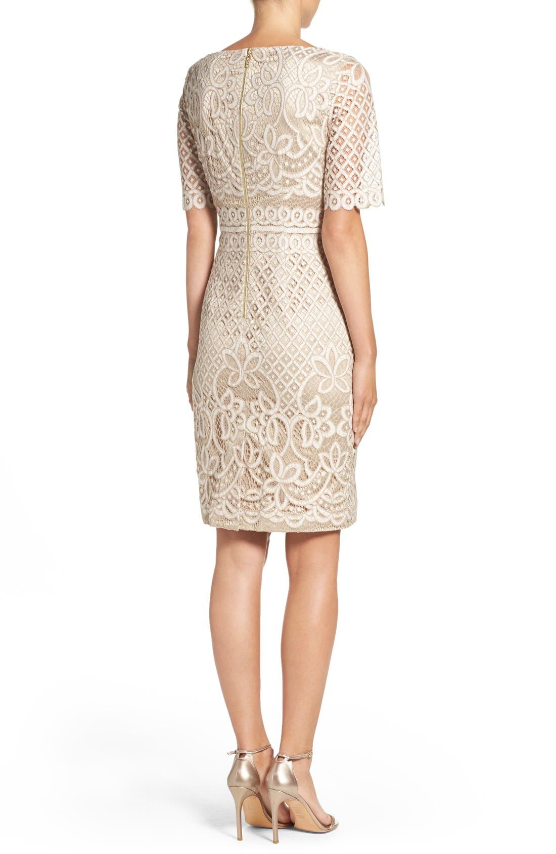 Lace Sheath Dress,                             Alternate thumbnail 3, color,                             IVORY NUDE
