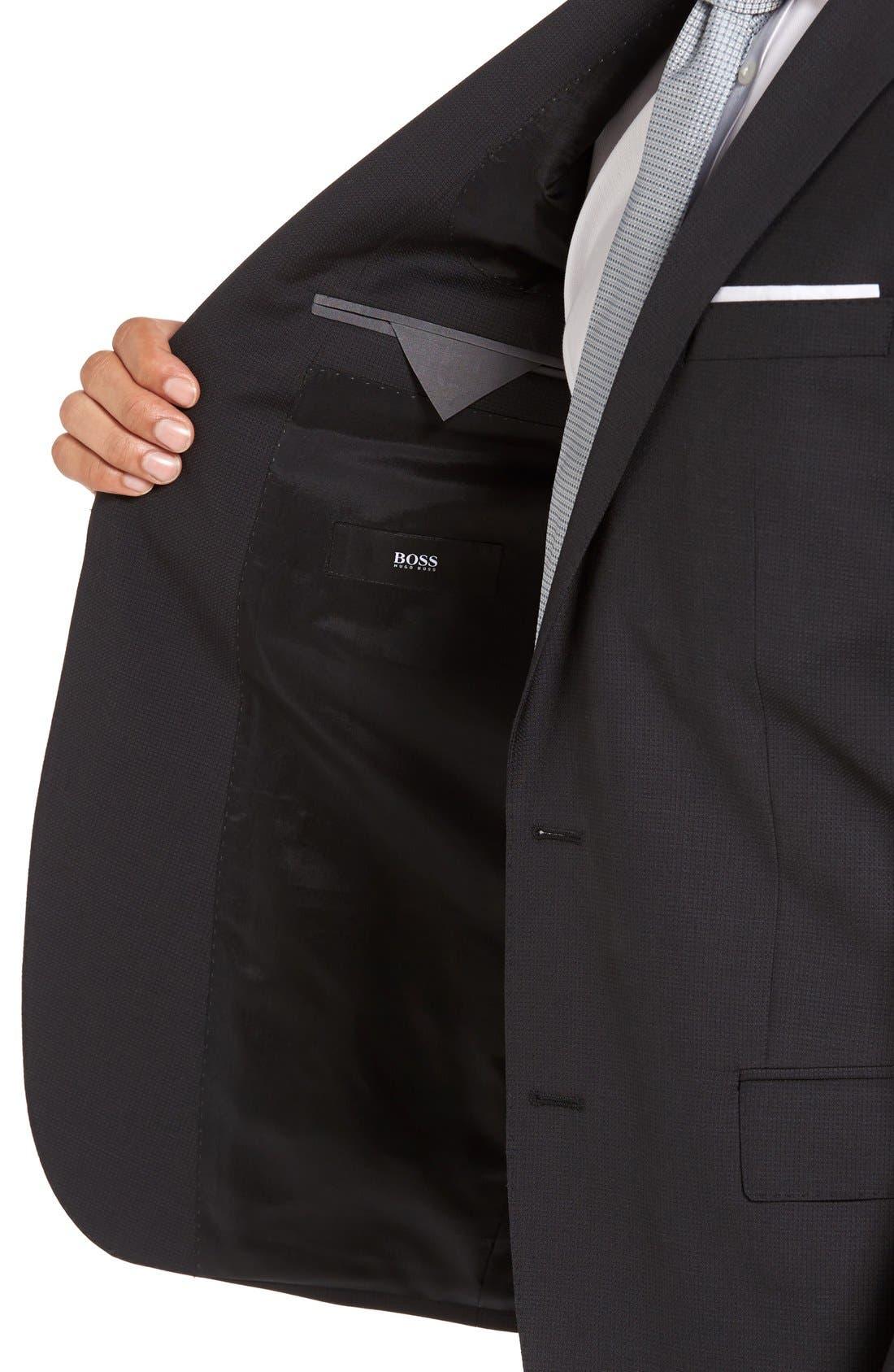 'Huge/Genius' Trim Fit Solid Wool Suit,                             Alternate thumbnail 6, color,                             BLACK