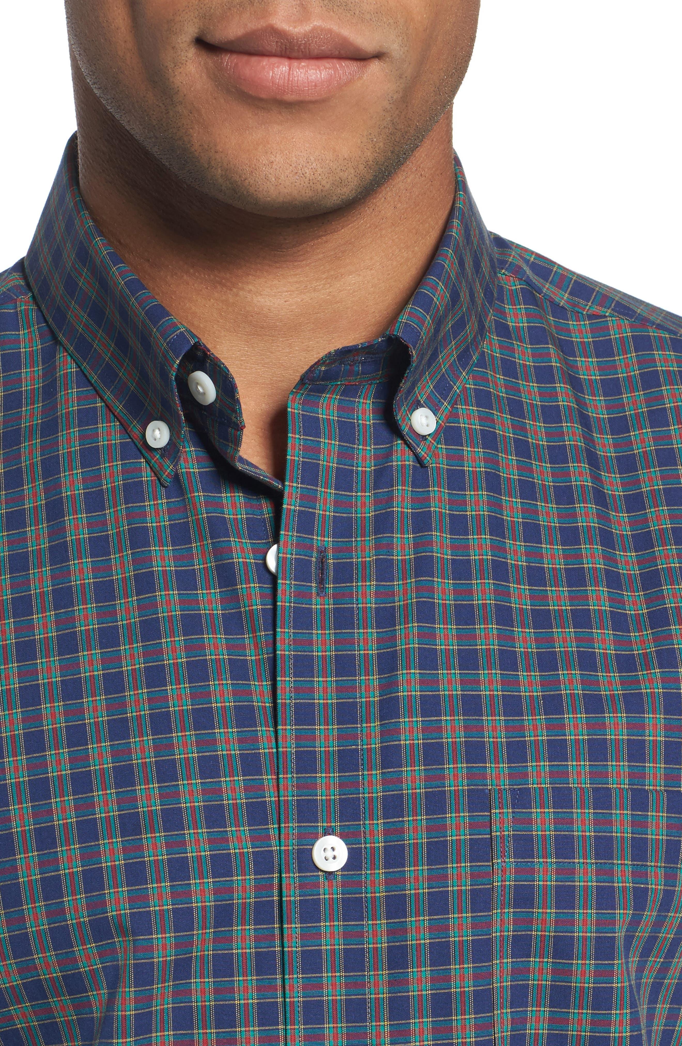 Trim Fit Non-Iron Plaid Sport Shirt,                             Alternate thumbnail 4, color,                             410