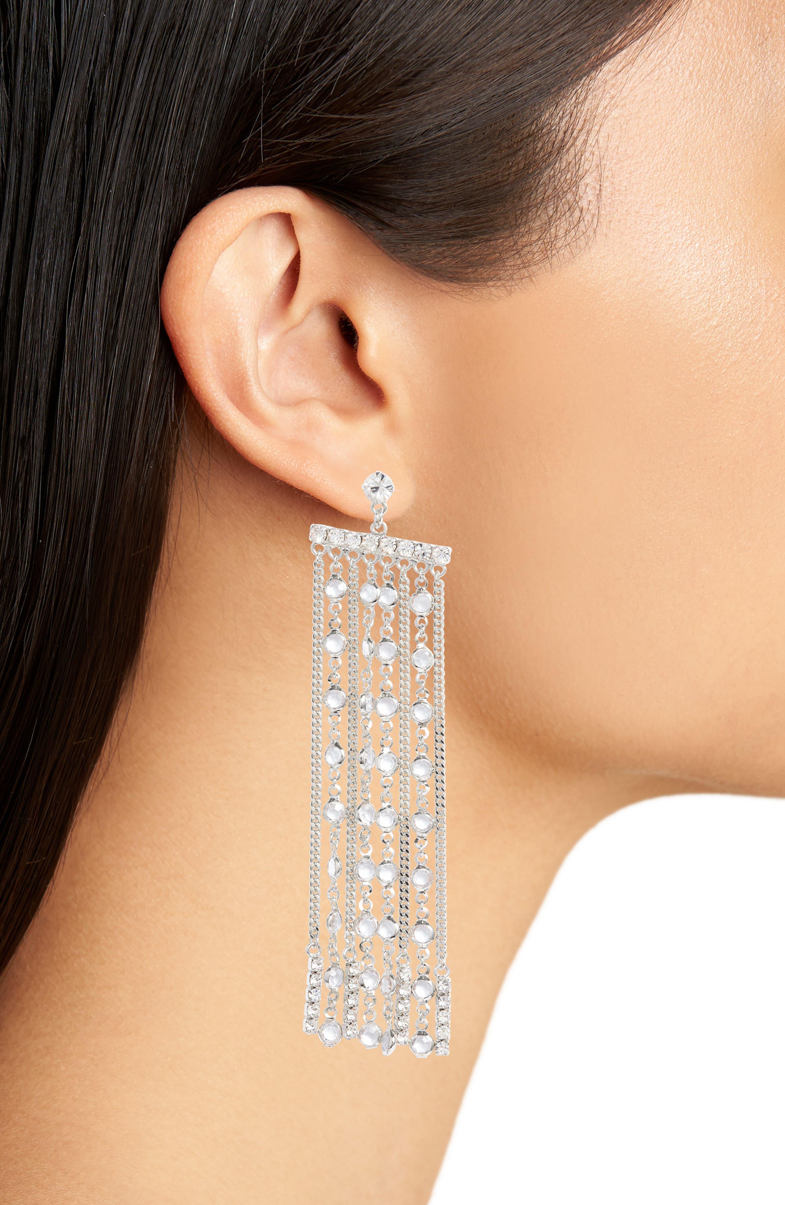 Crystal Fringe Earrings,                             Alternate thumbnail 4, color,