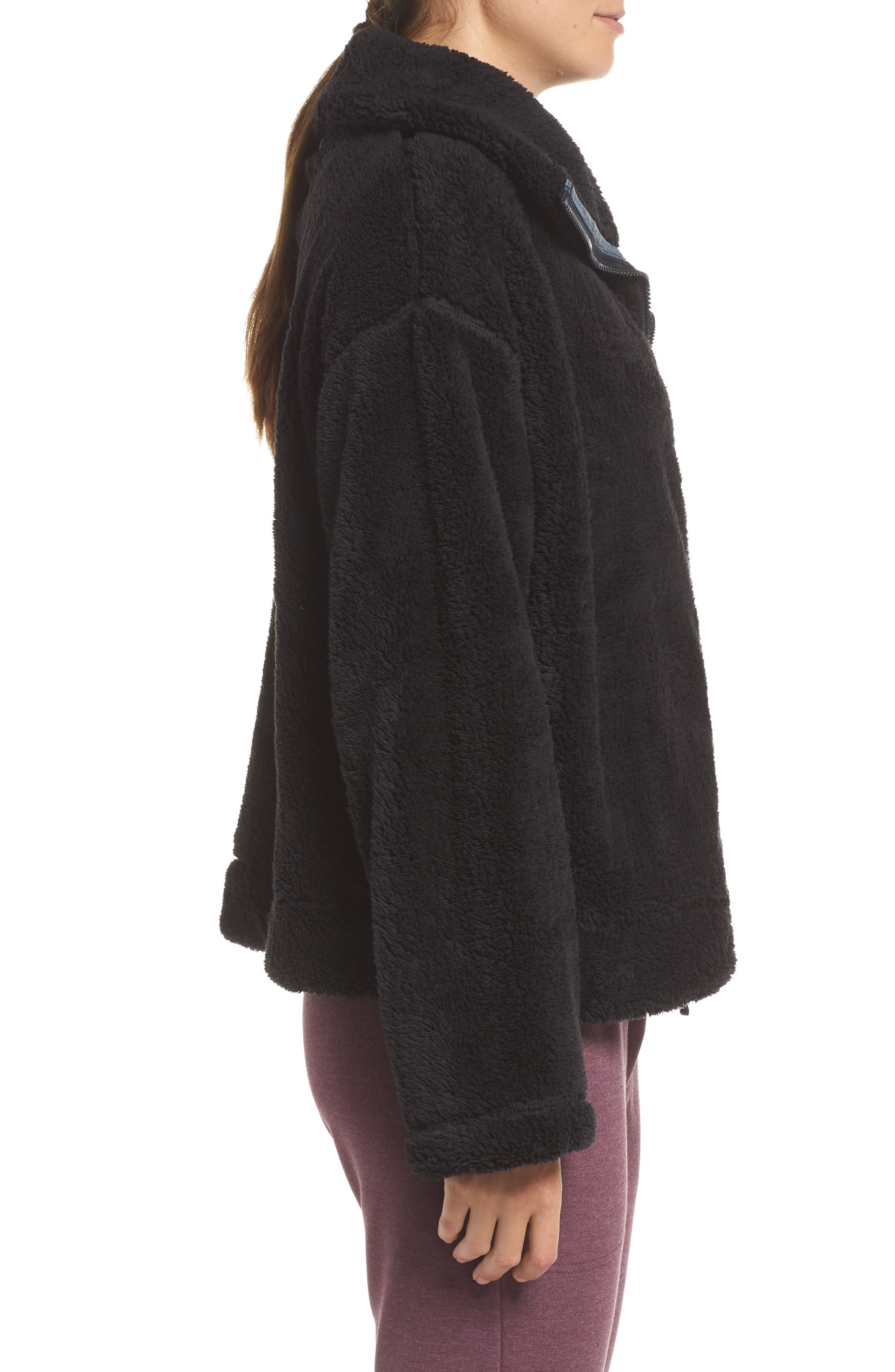 Dazed Fleece Jacket,                             Alternate thumbnail 3, color,                             BLACK