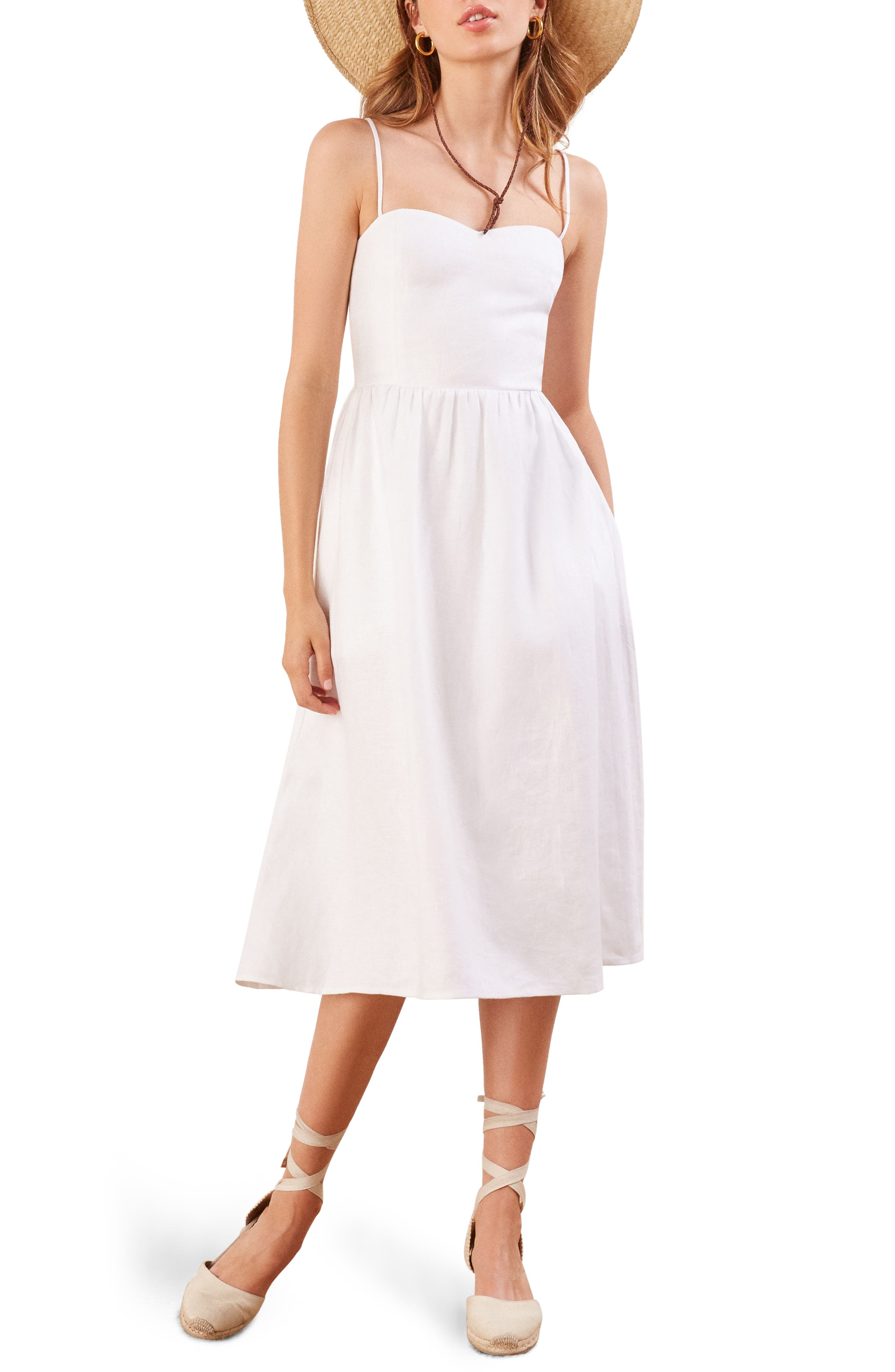 Olivia Linen Midi Dress,                         Main,                         color, 100