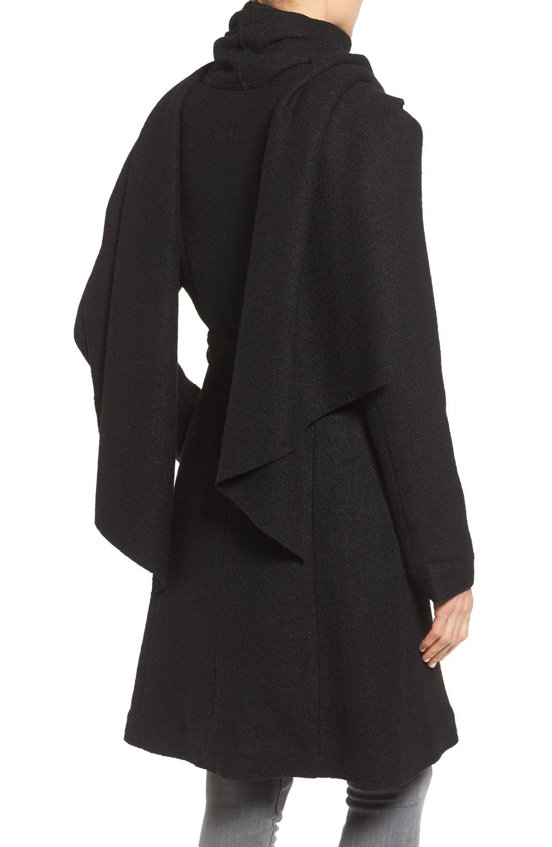Belted Scarf Front Coat,                             Alternate thumbnail 3, color,