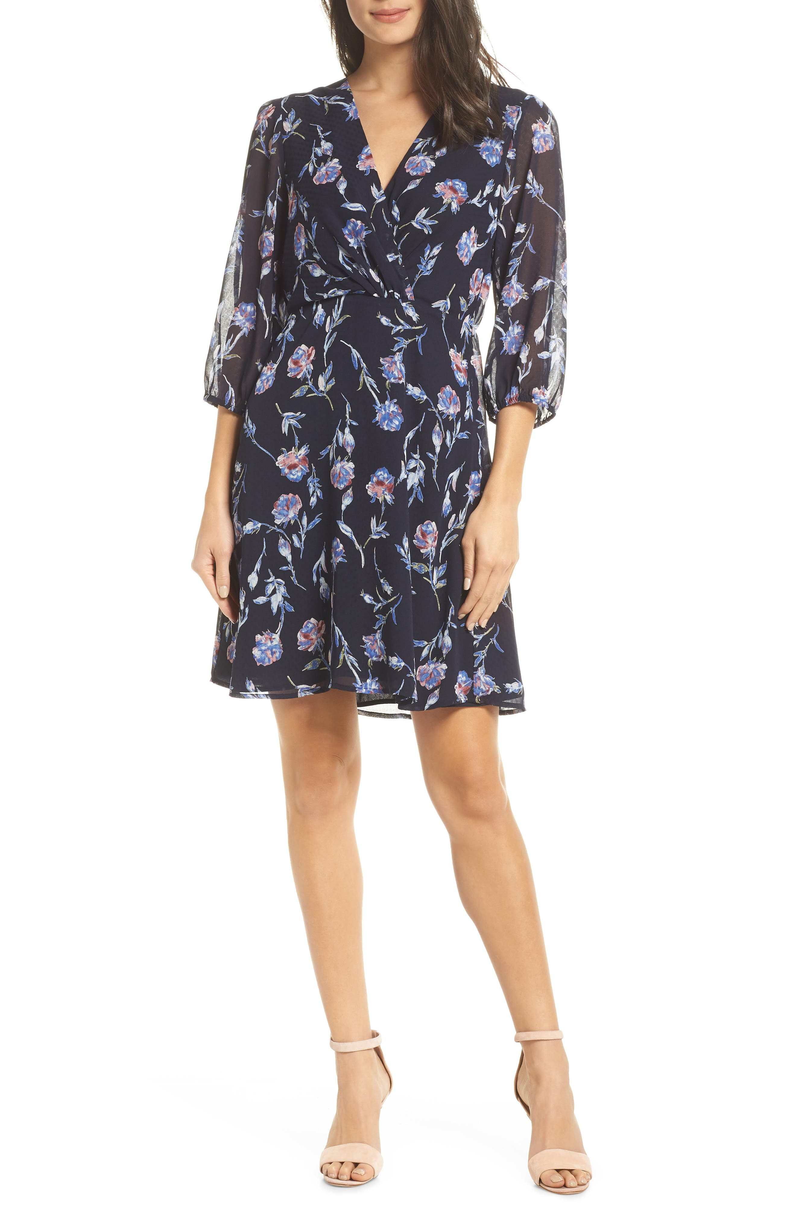 19 COOPER Floral Chiffon Dress in Navy Floral
