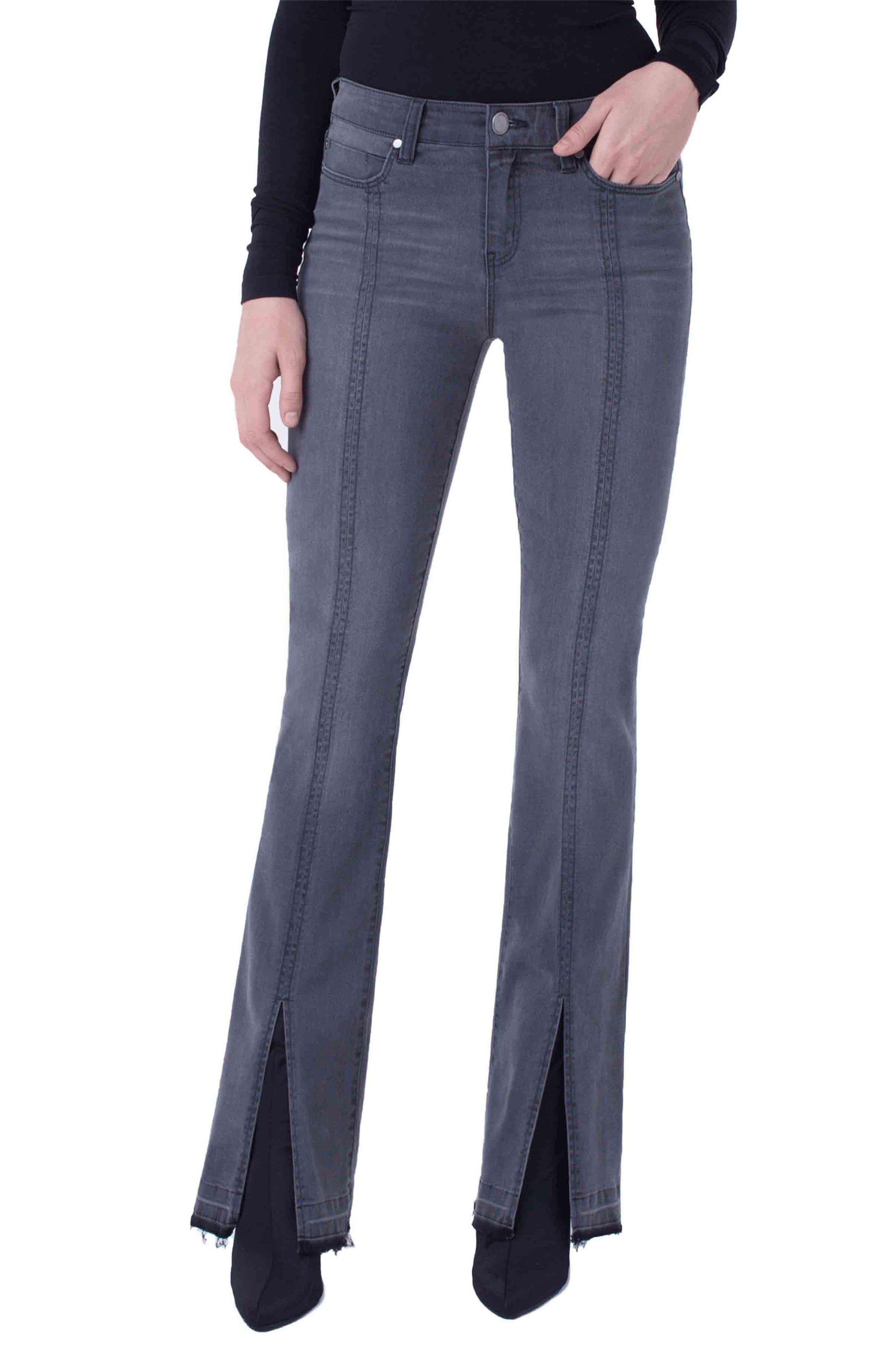 Slit Released Hem Flare Jeans In Titanium Wash