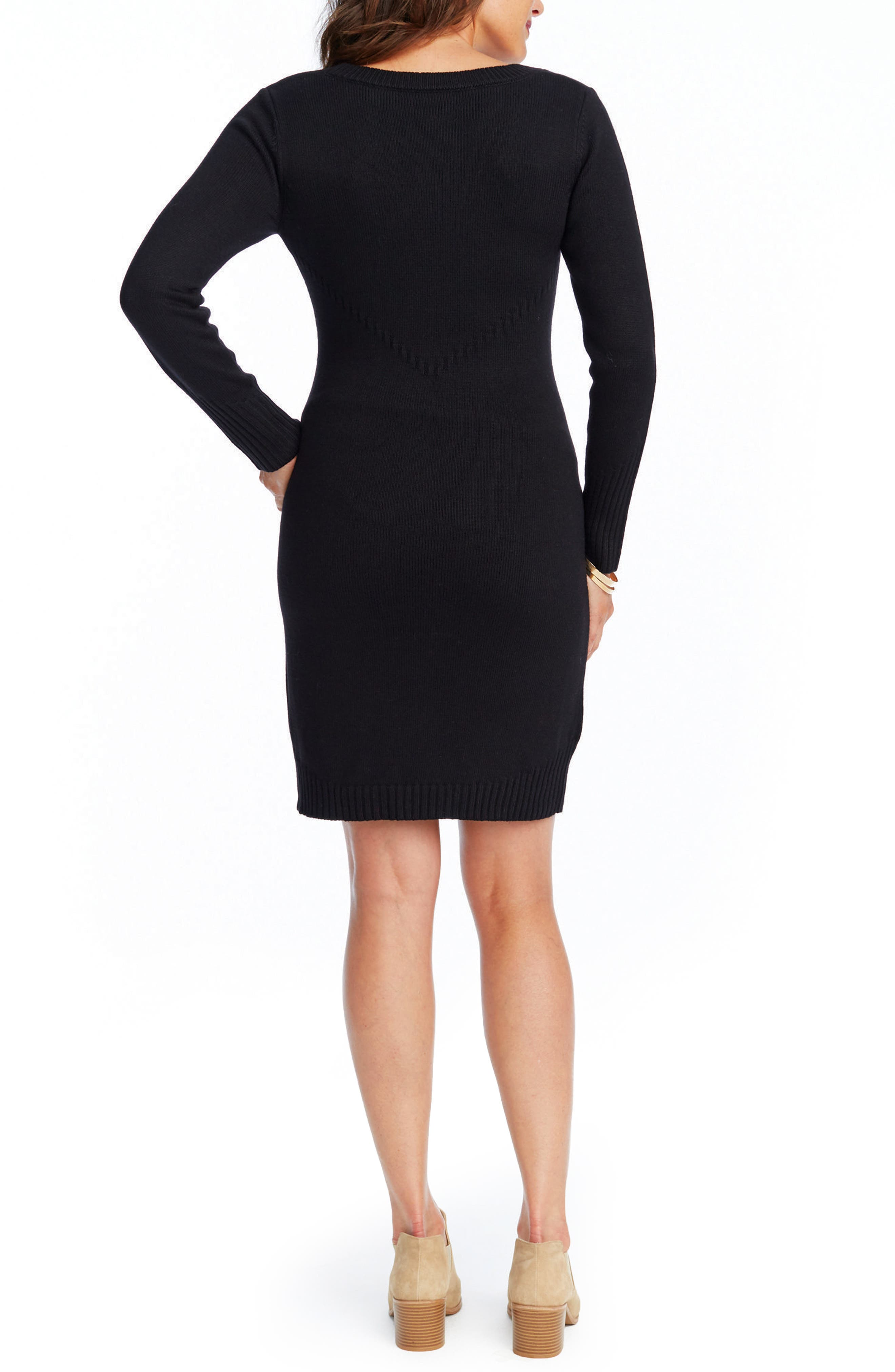 Karlie Maternity Sweater Dress,                             Alternate thumbnail 2, color,                             BLACK