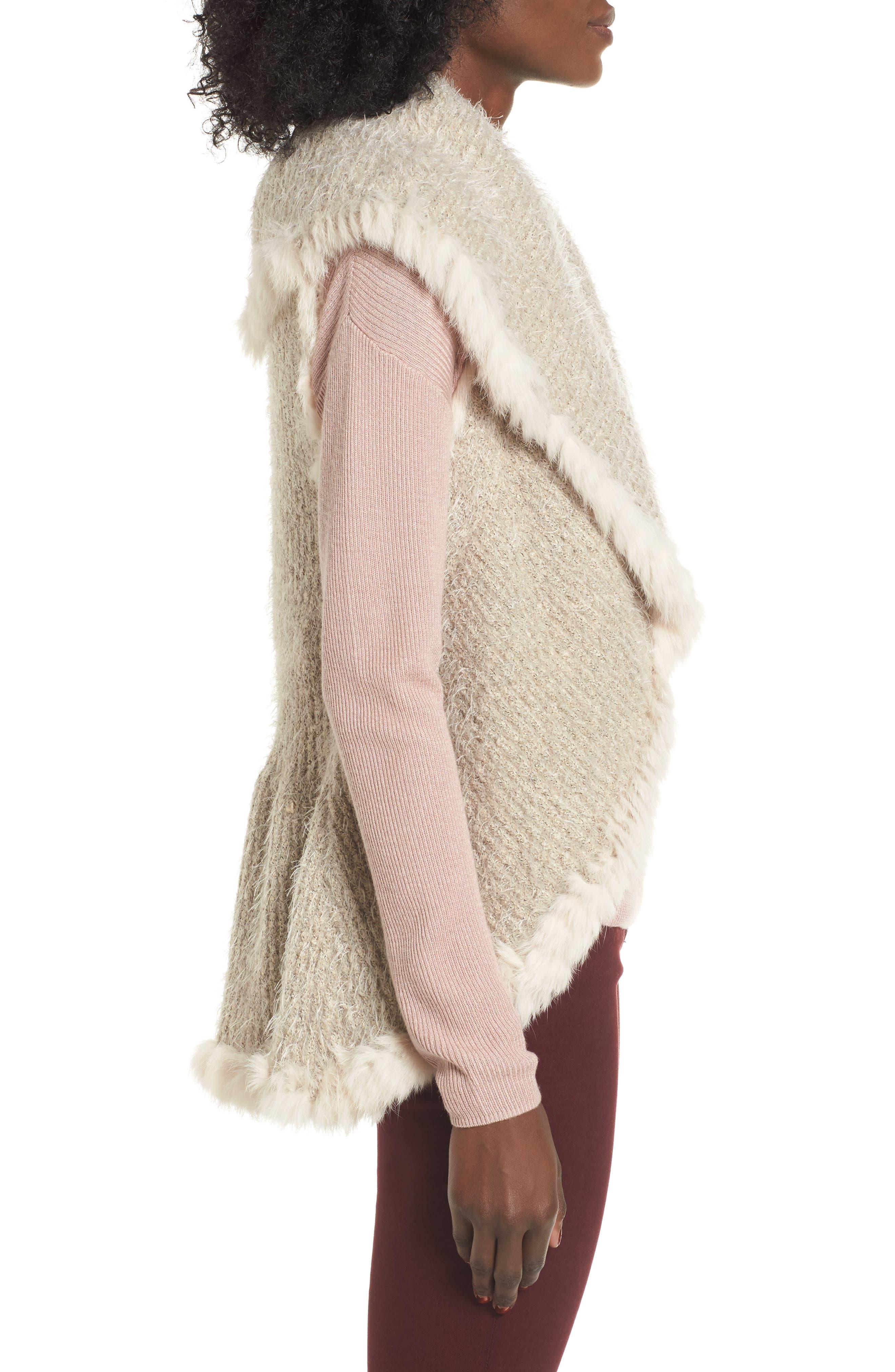 Knit Vest with Genuine Rabbit Fur Trim,                             Alternate thumbnail 9, color,