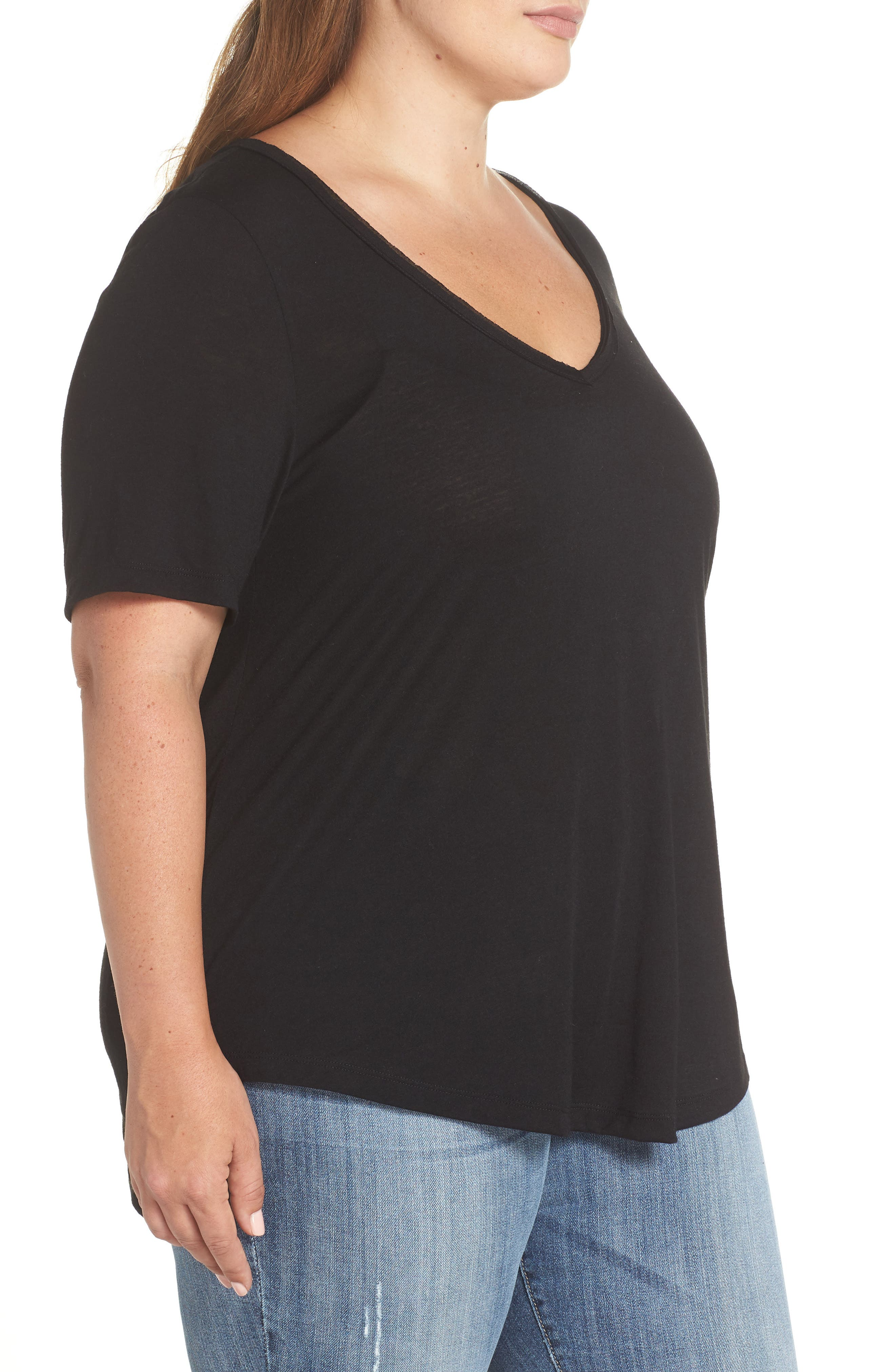 Raw Edge V-Neck Tee,                             Alternate thumbnail 3, color,                             BLACK