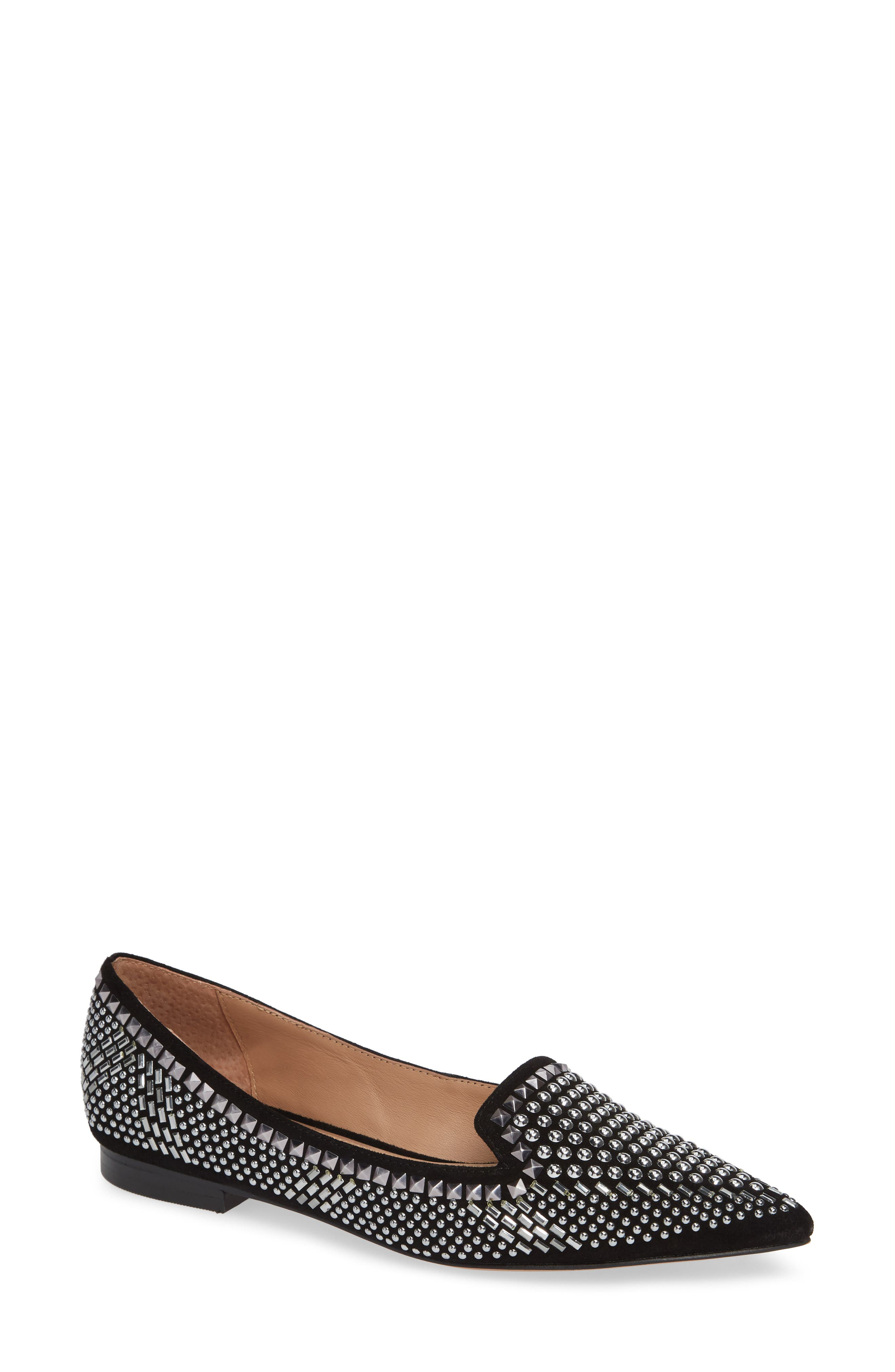 Portia Studded Loafer,                             Main thumbnail 1, color,                             BLACK SUEDE