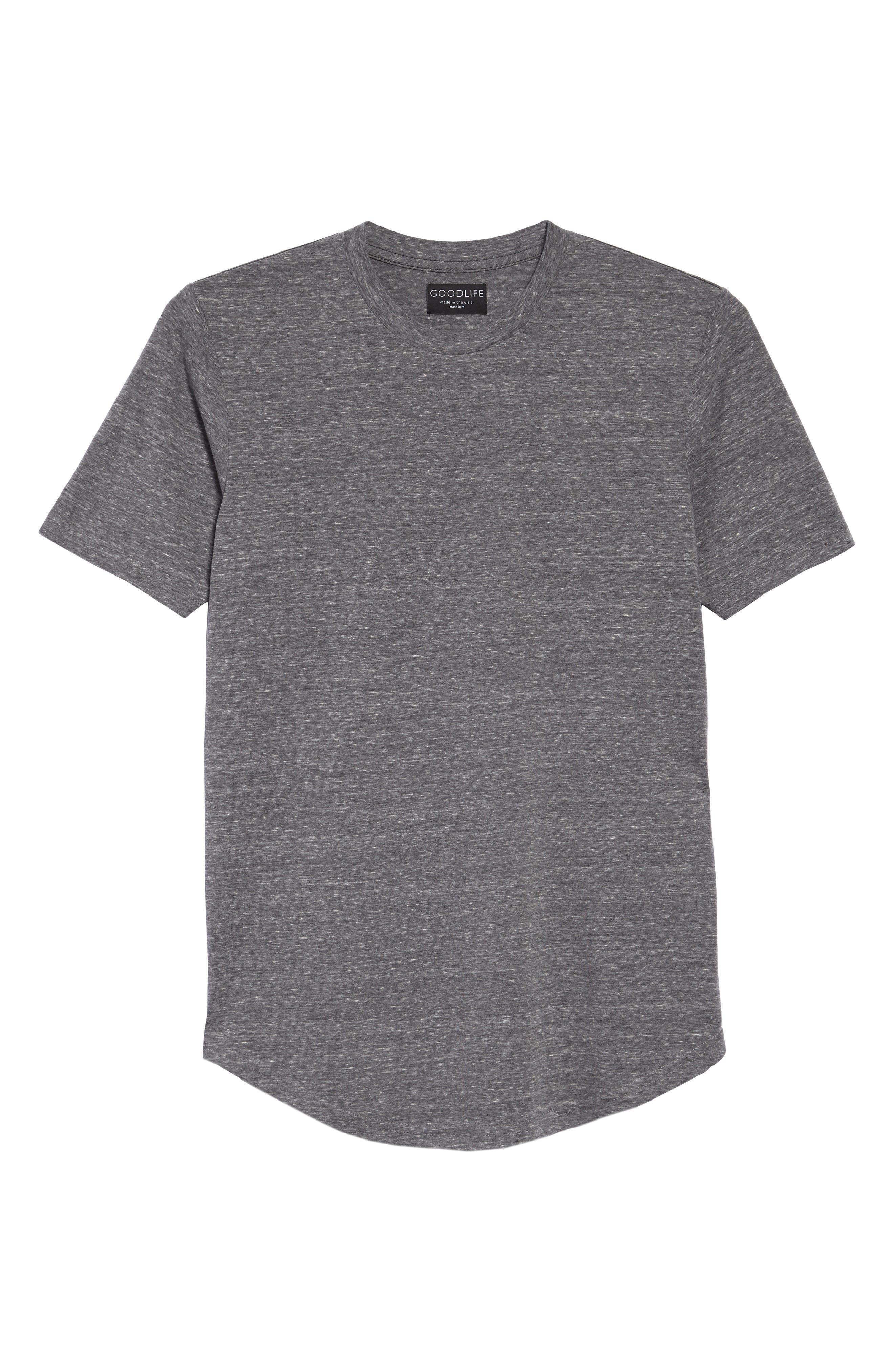 Triblend Scallop Crewneck T-Shirt,                             Main thumbnail 1, color,                             HEATHER GREY