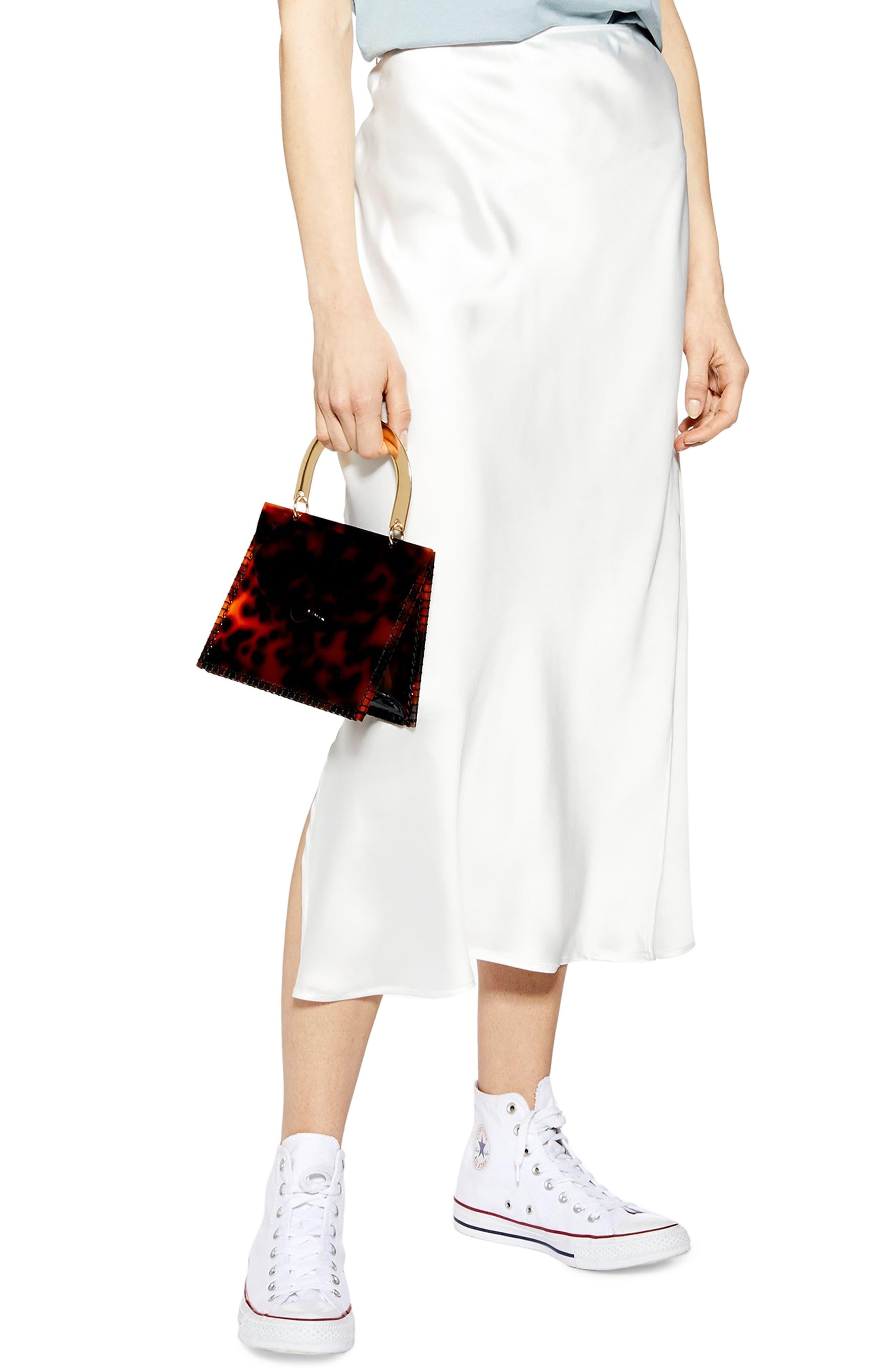 Topshop Split Side Bias Midi Skirt, US (fits like 2-4) - Ivory