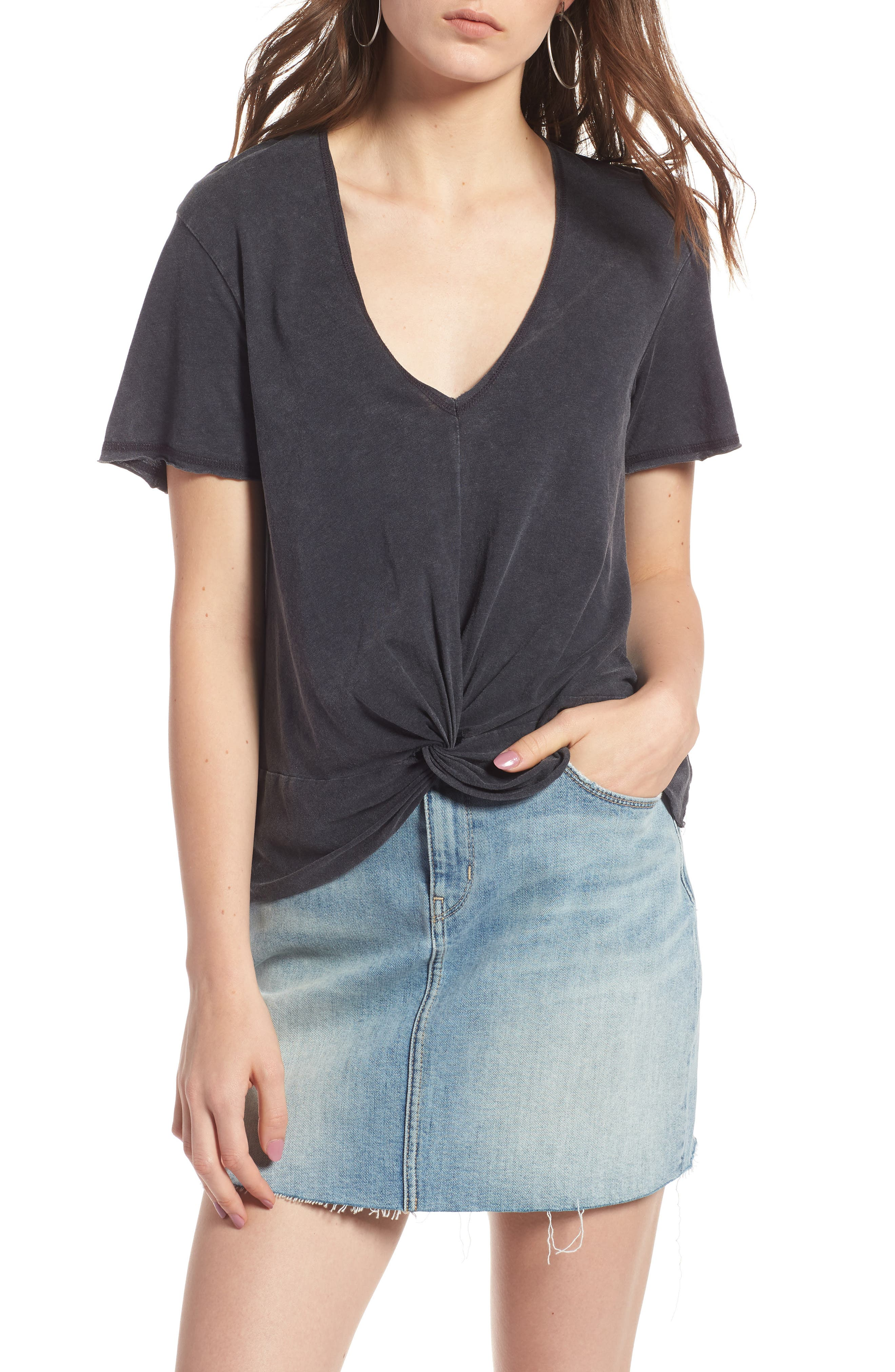 Twist Detail Tee,                         Main,                         color, GREY CHARCOAL