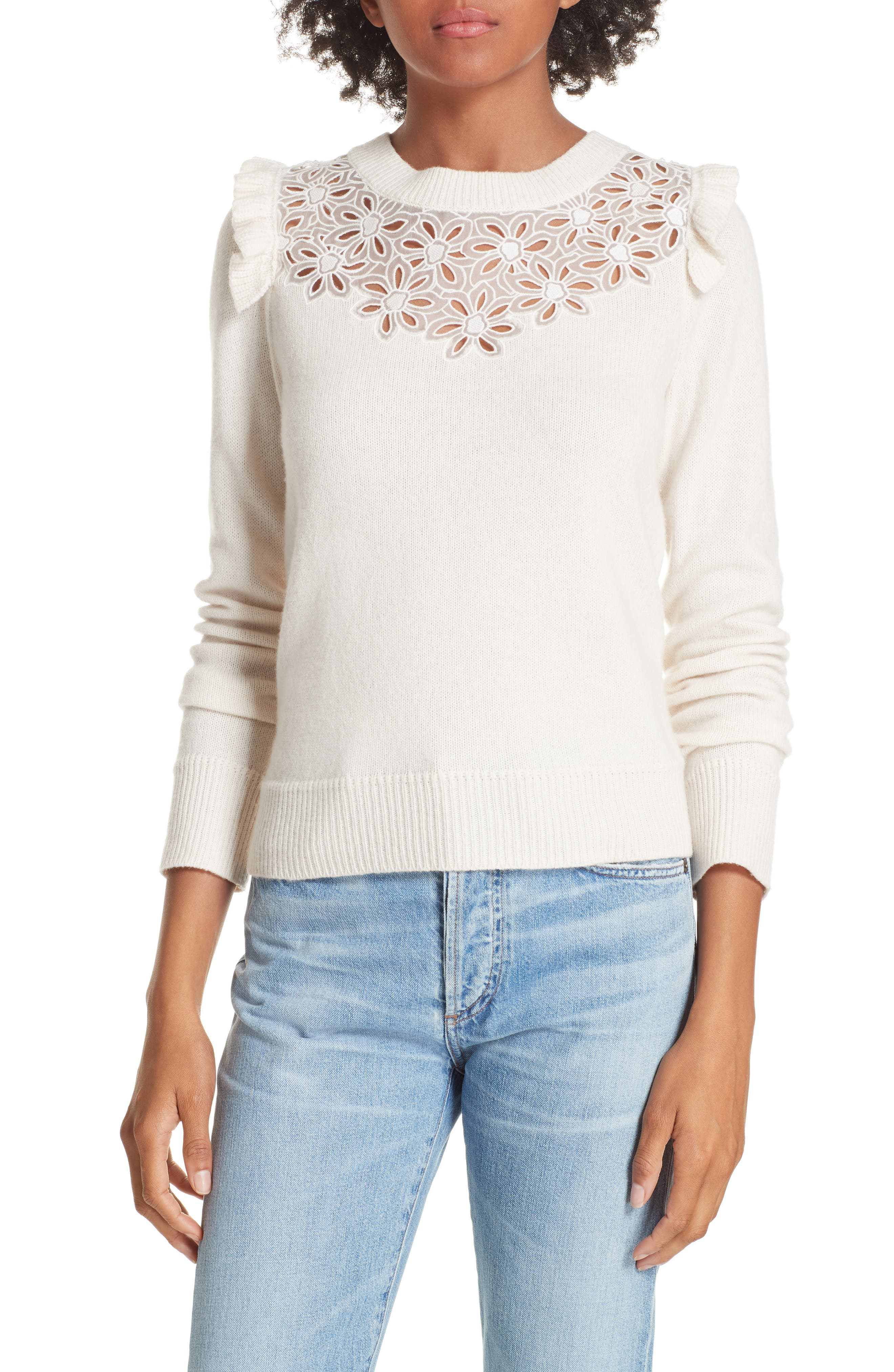 Emilie Embroidered Sweater,                             Main thumbnail 1, color,                             CREAM