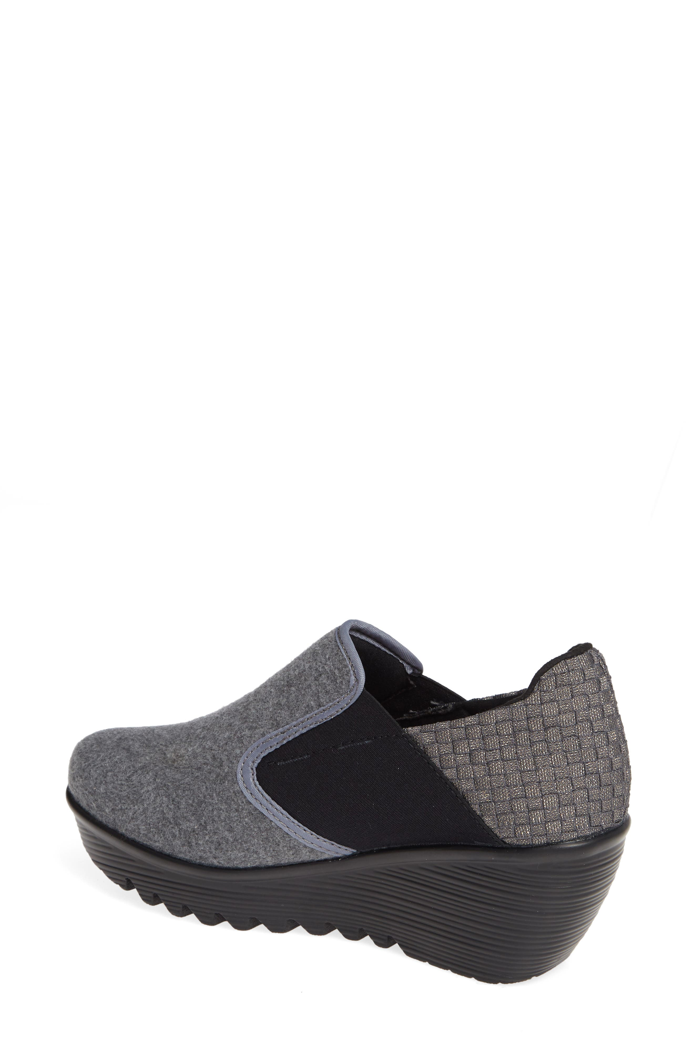 Bari Wedge,                             Alternate thumbnail 2, color,                             GREY SHIMMER LEATHER