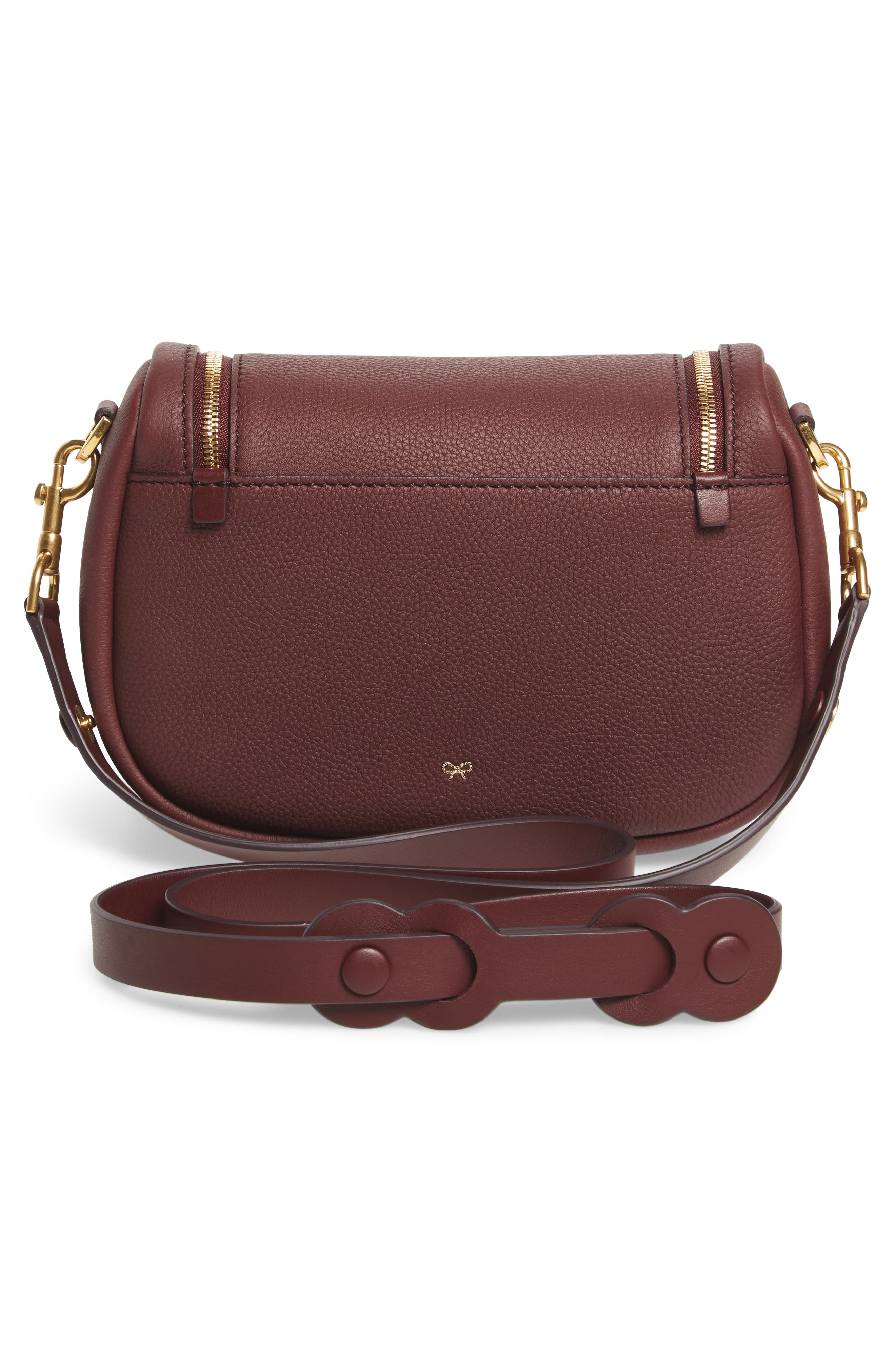 Small Vere Leather Crossbody Satchel,                             Alternate thumbnail 3, color,                             CLARET