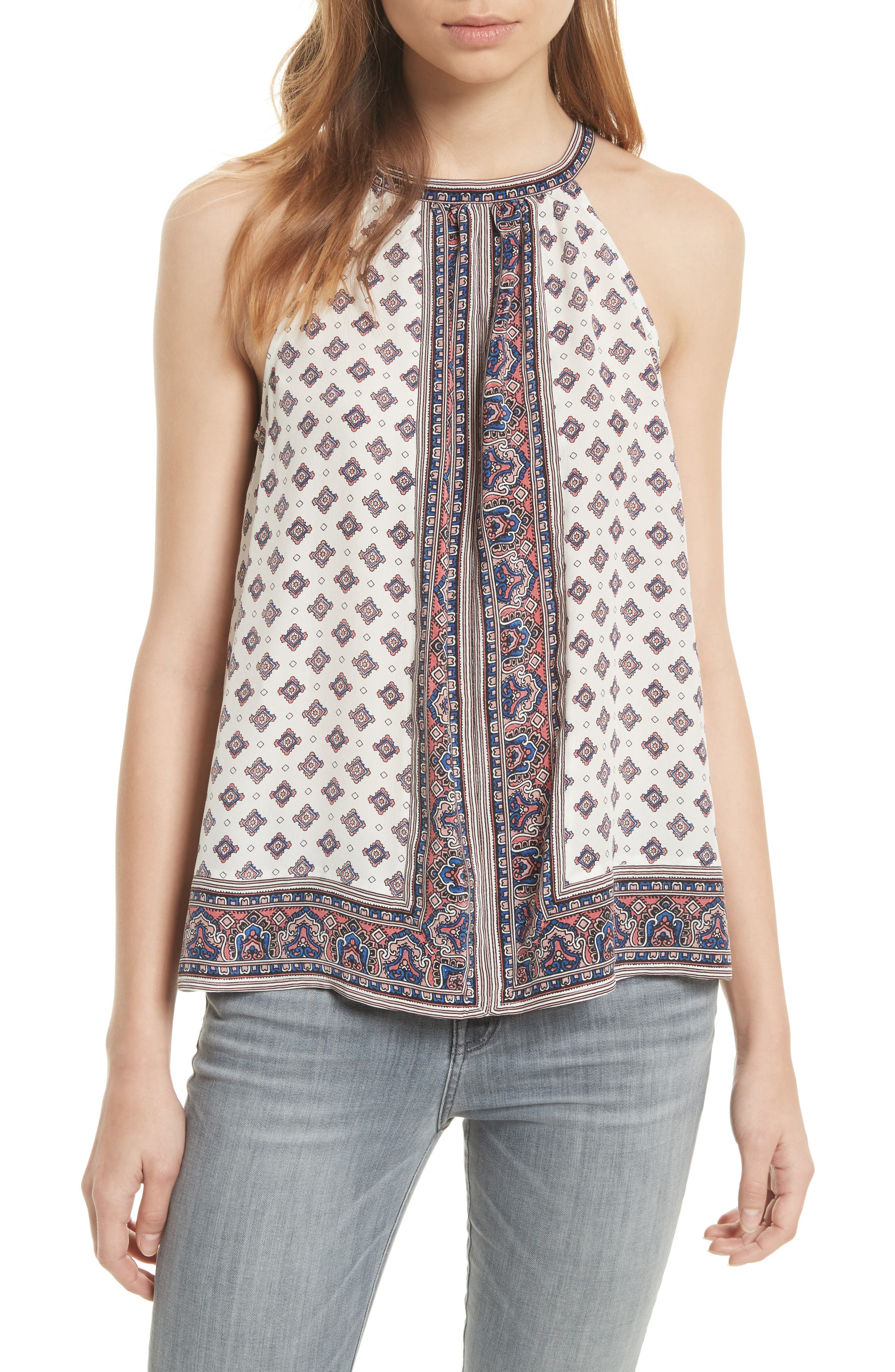 Bradie Border Print Silk Top,                         Main,                         color,