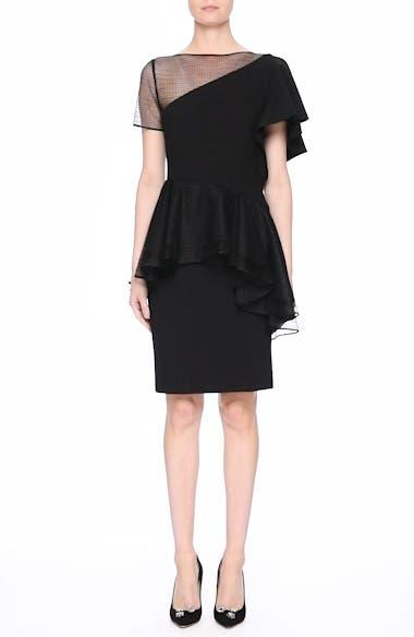 Ruffle Peplum Lace & Jersey Sheath Dress, video thumbnail