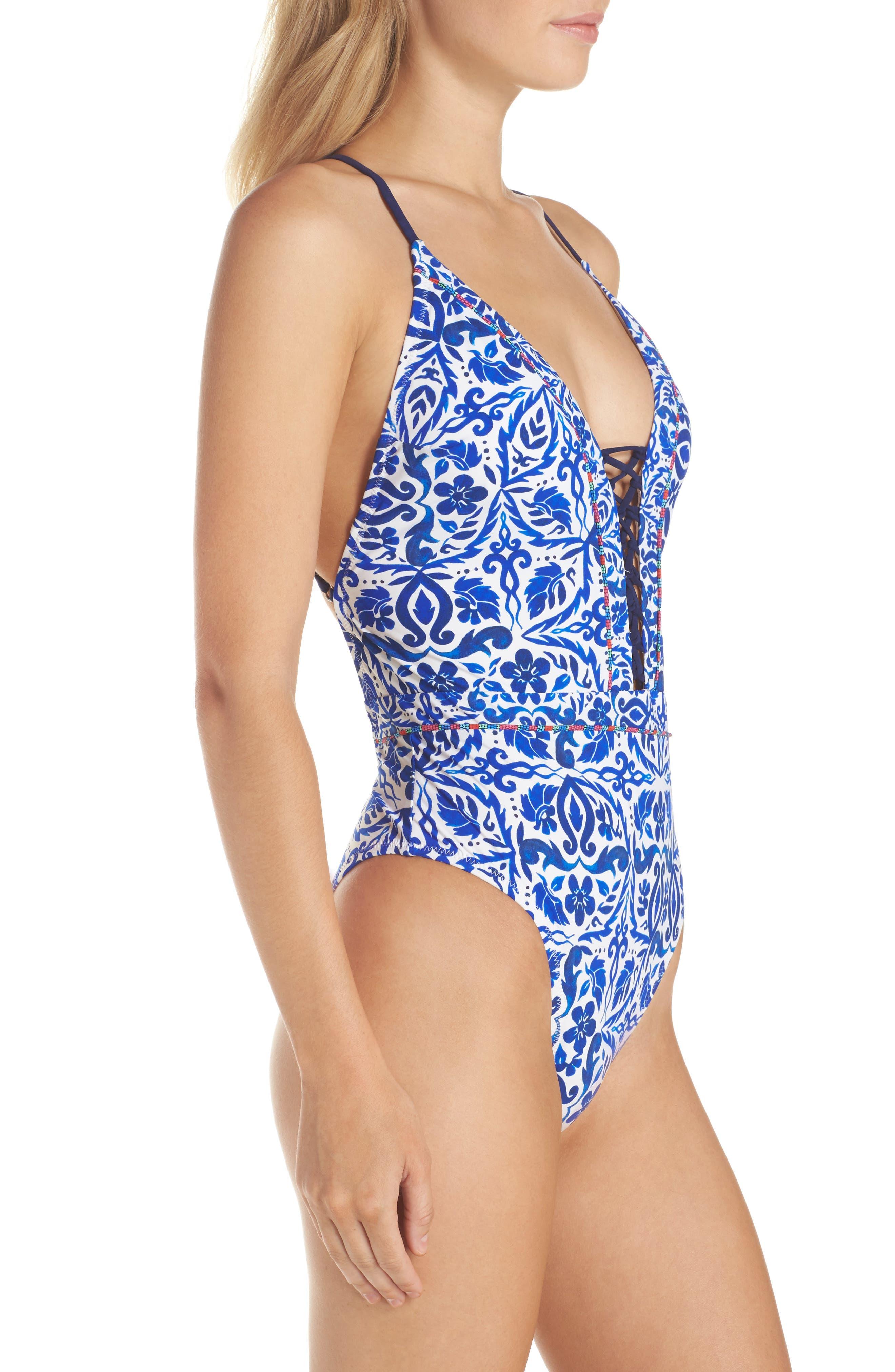 Talavera Goddess One-Piece Swimsuit,                             Alternate thumbnail 3, color,